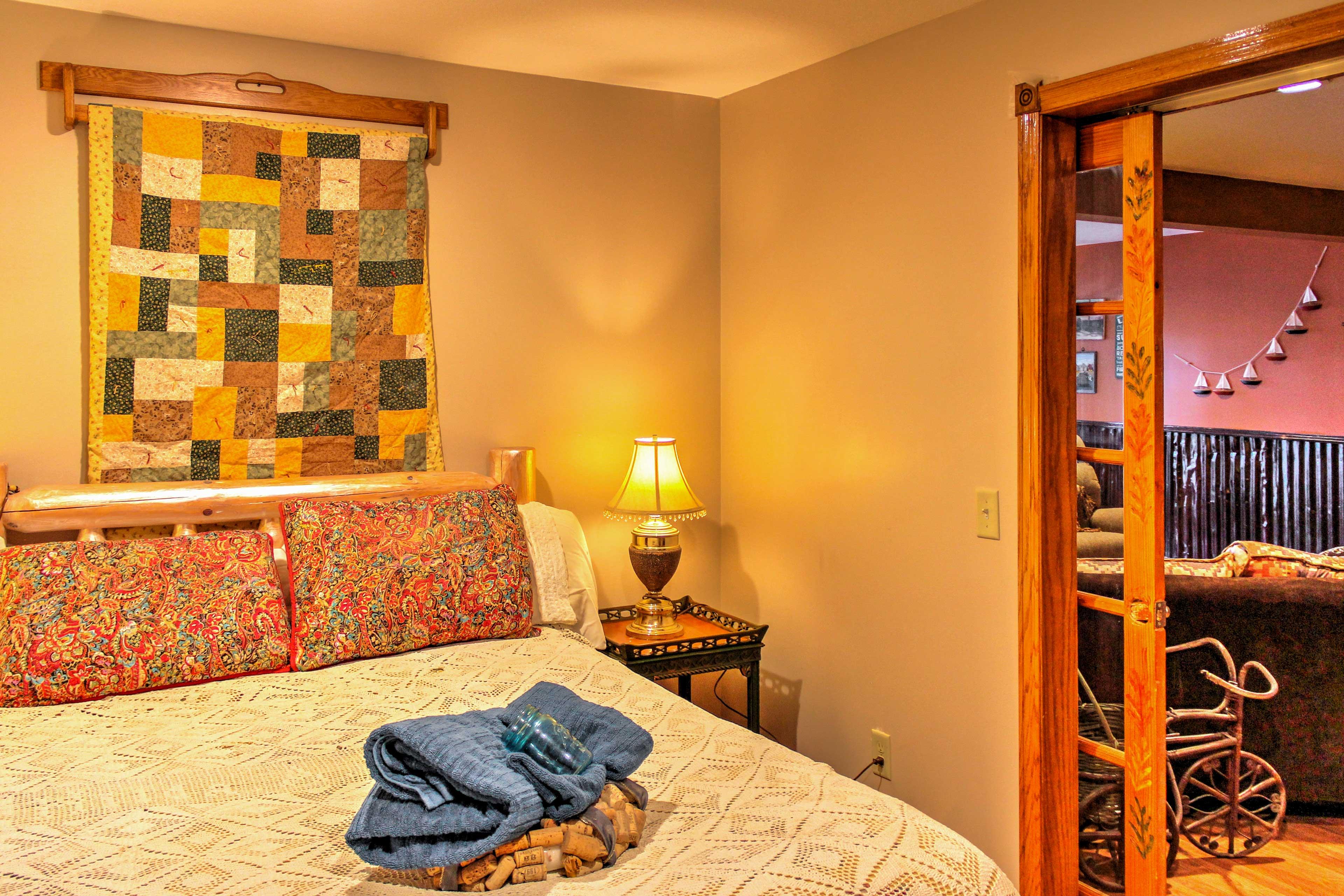 Sleep easy in this cozy bedroom.