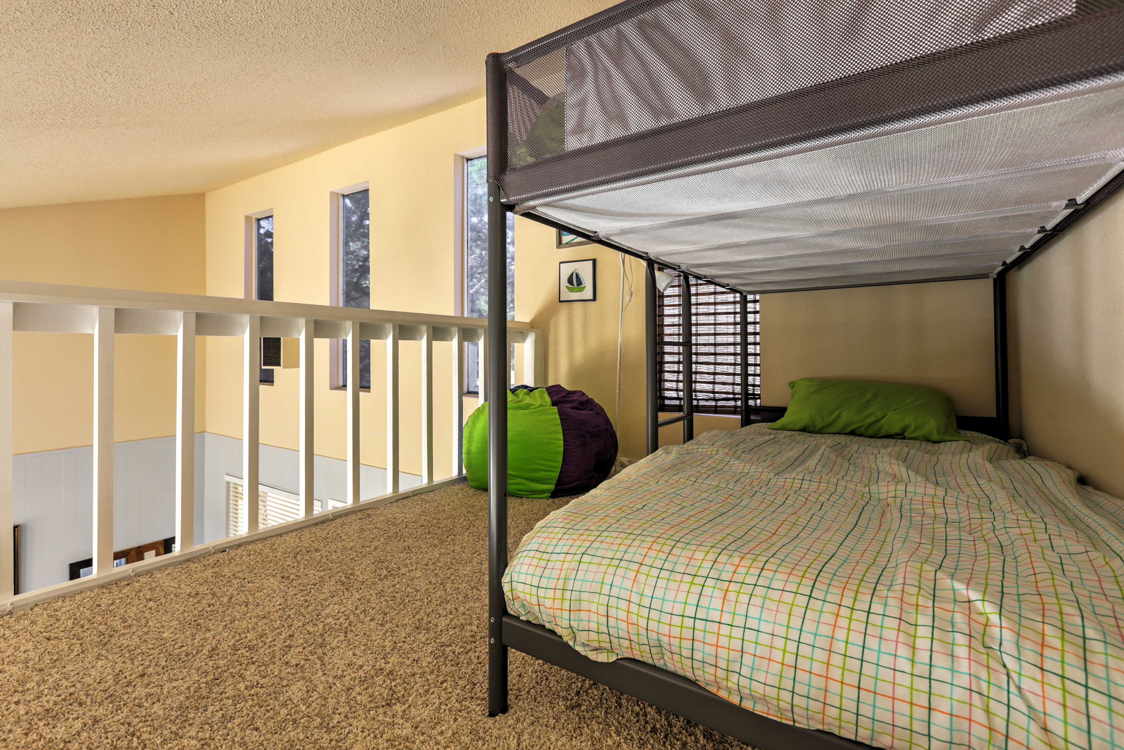 The loft has a twin-over-twin bunk bed, perfect for kids!