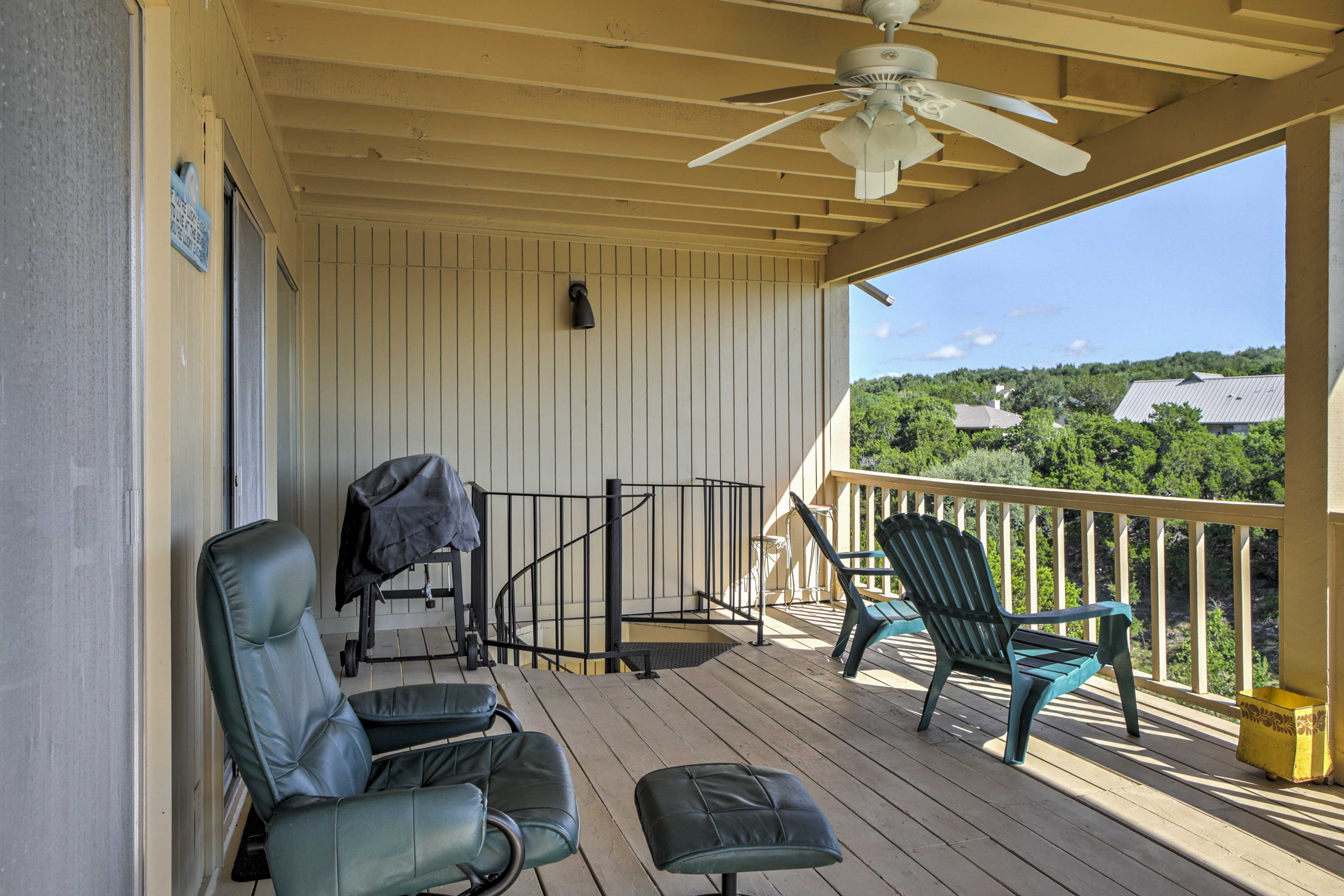 Lounge on the patio furniture while taking in the views.