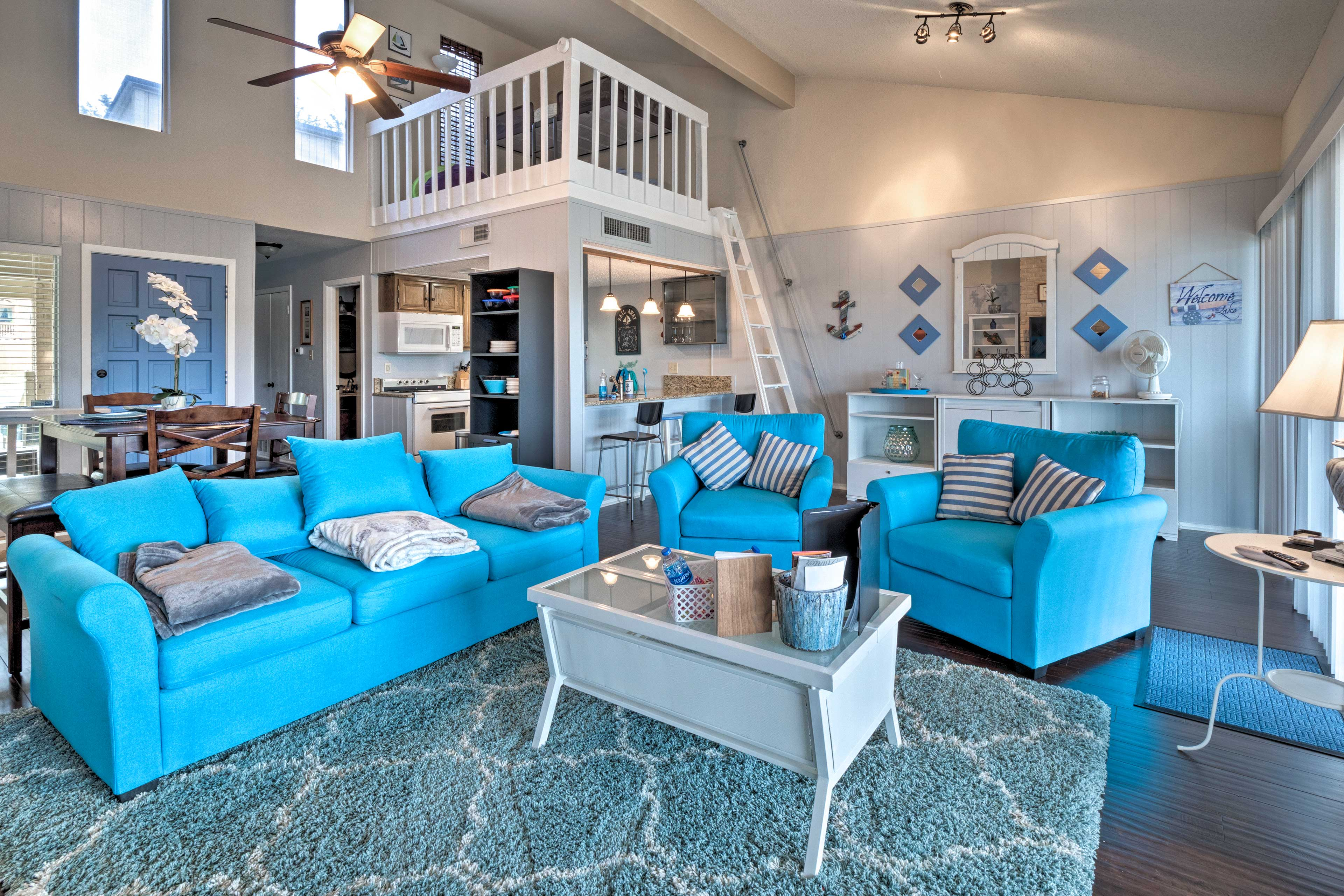 The townhouse in the Point Venture community features new couches!