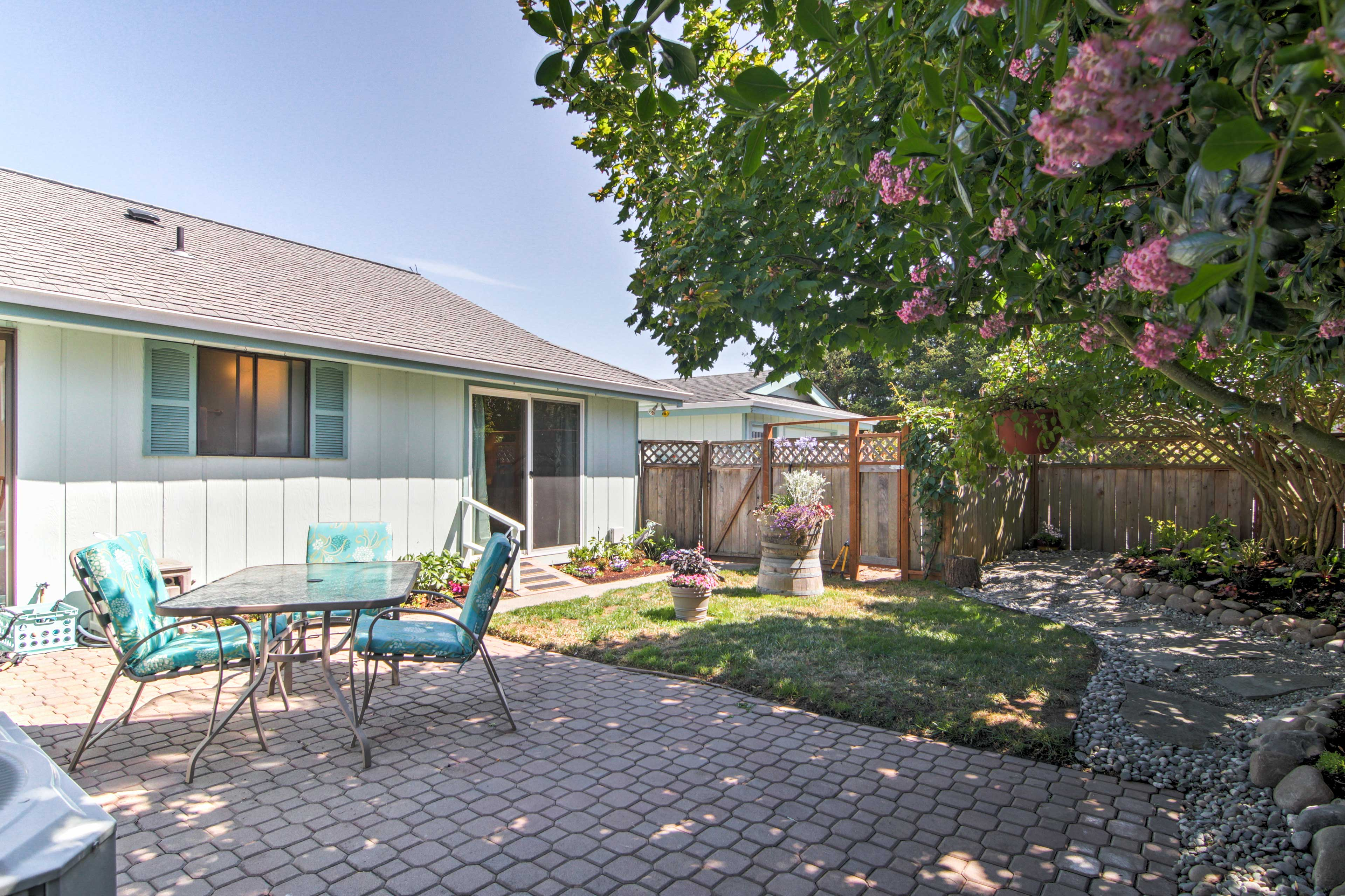 The home features a private courtyard sitting area where you can enjoy fresh air.