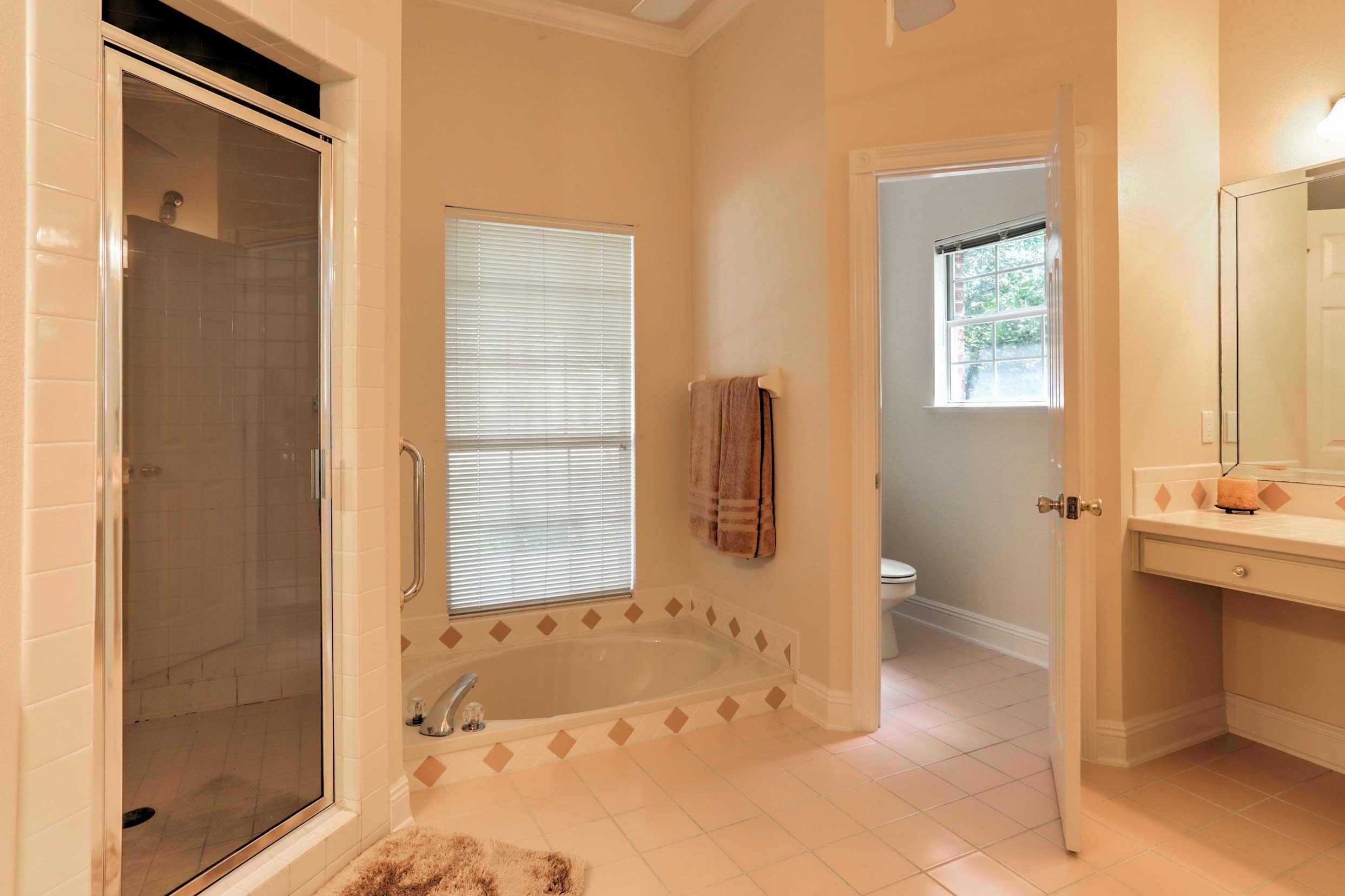 The en suite master bathroom offers a walk-in shower and  a bathtub.