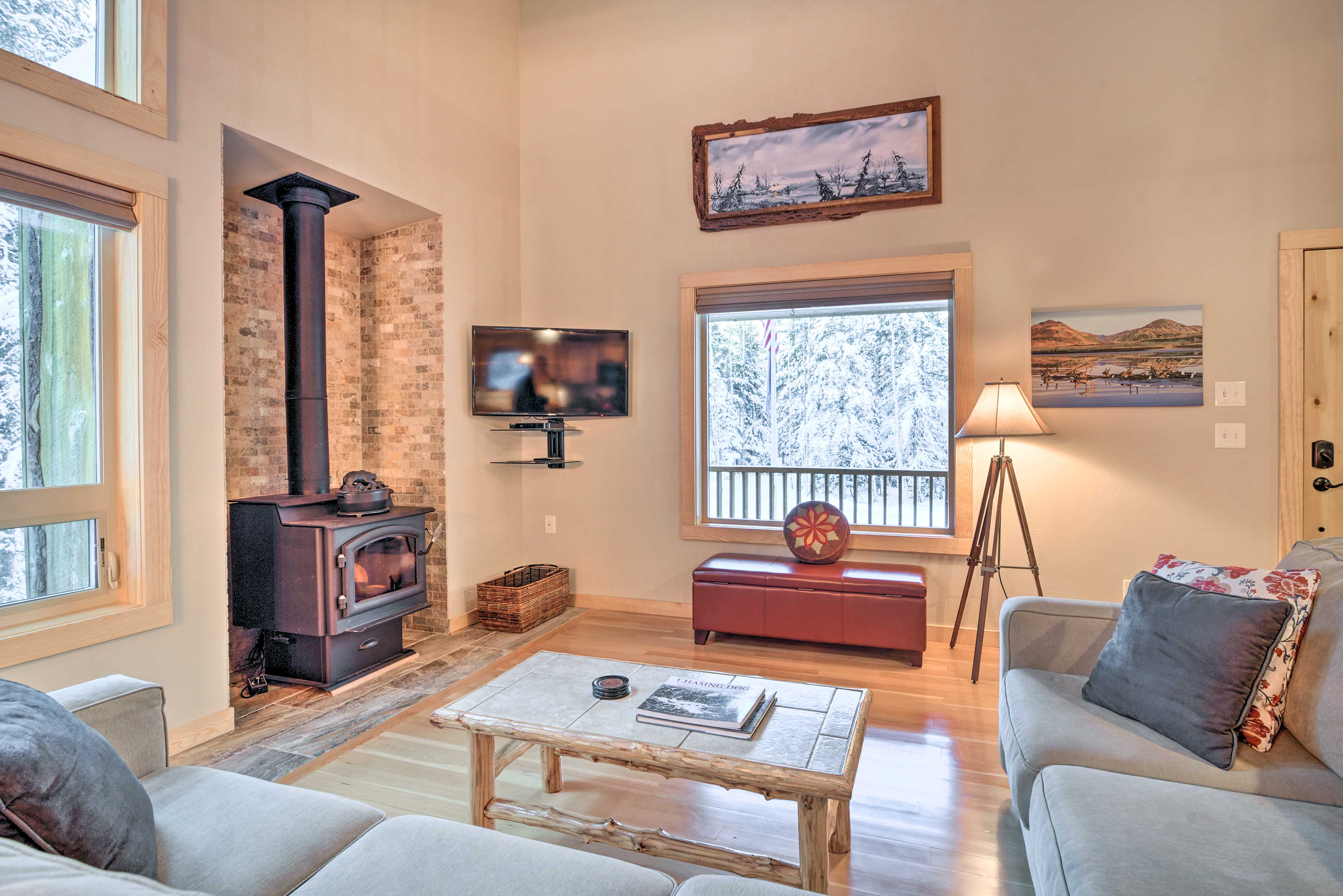 Gather in the living area to watch your favorite shows on the TV.