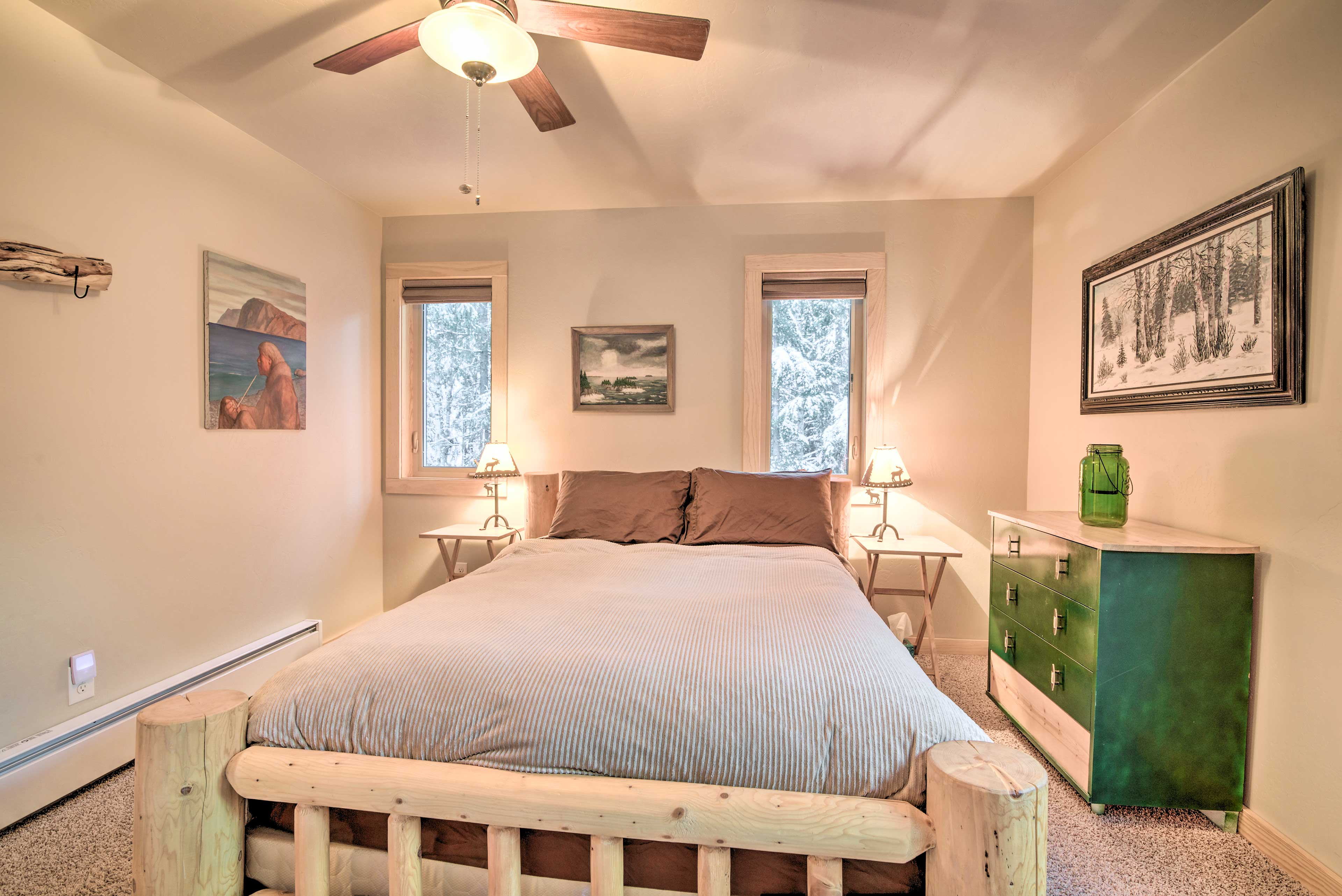 Retreat to the master bedroom for a peaceful slumber in the queen bed.