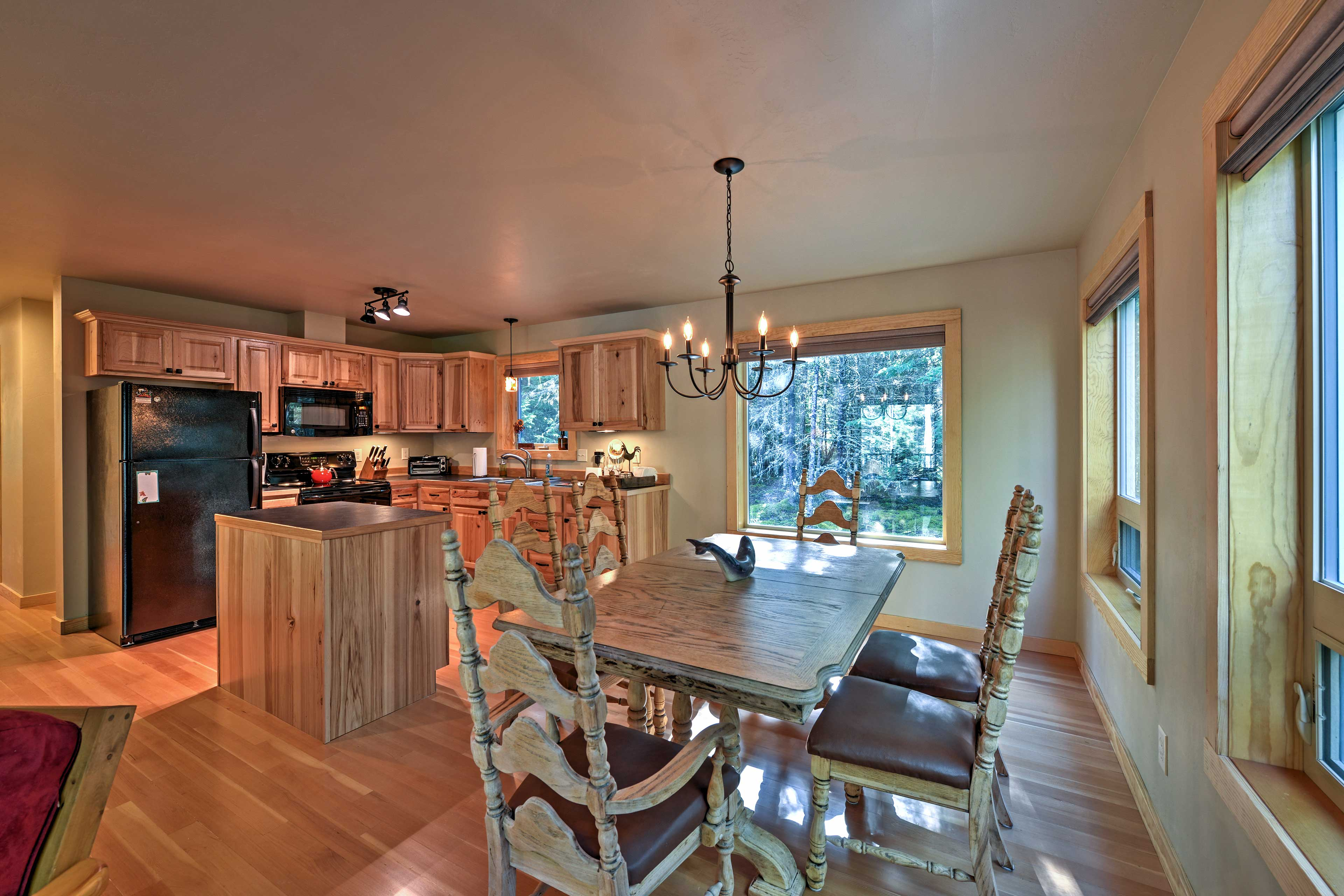 An open floor plan combines the dining area and kitchen for easy entertaining.