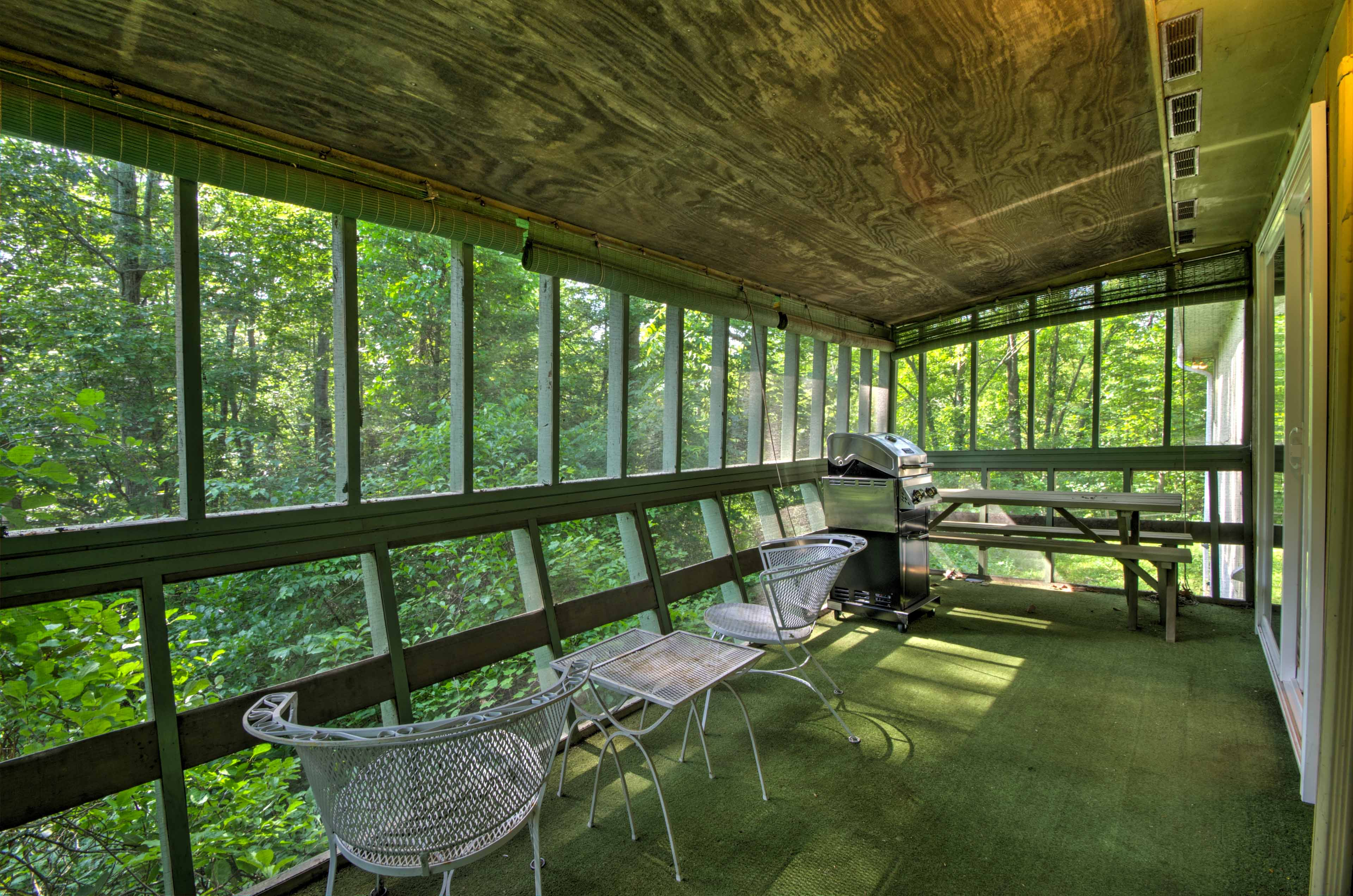 Read a book and relax on the screened-in porch.