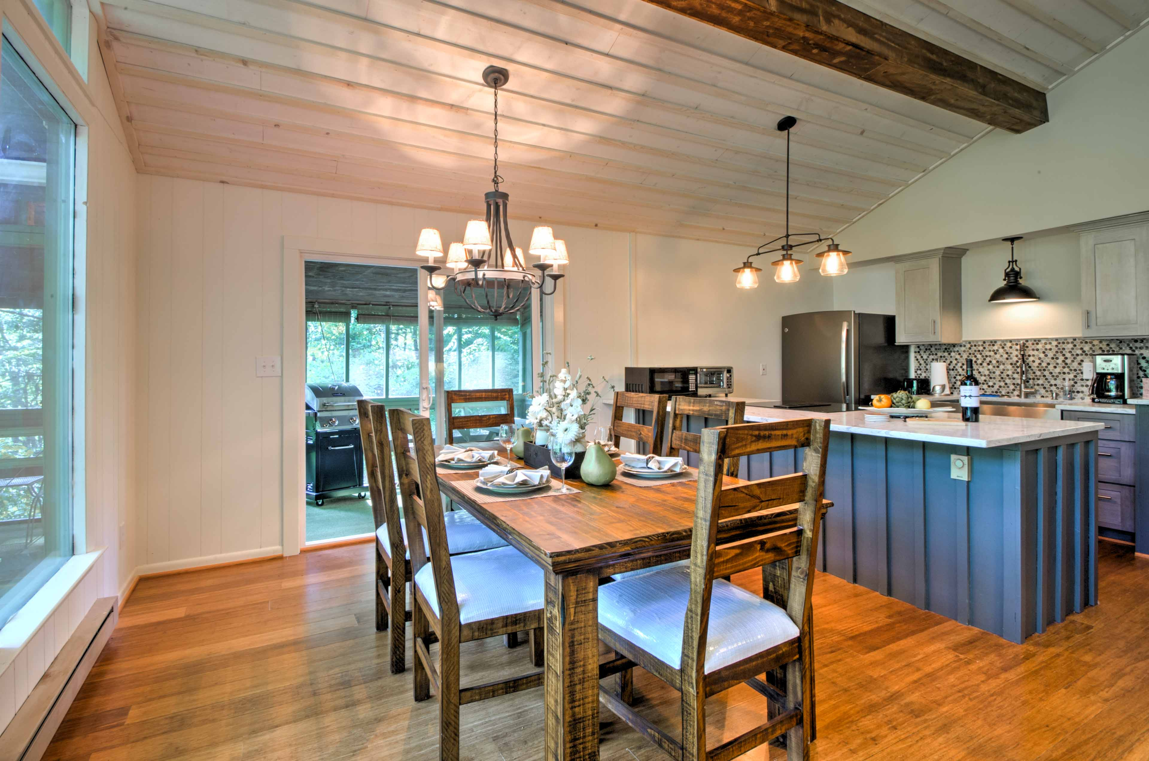 Everyone in your travel group can dine together at the table adjacent to the kitchen.