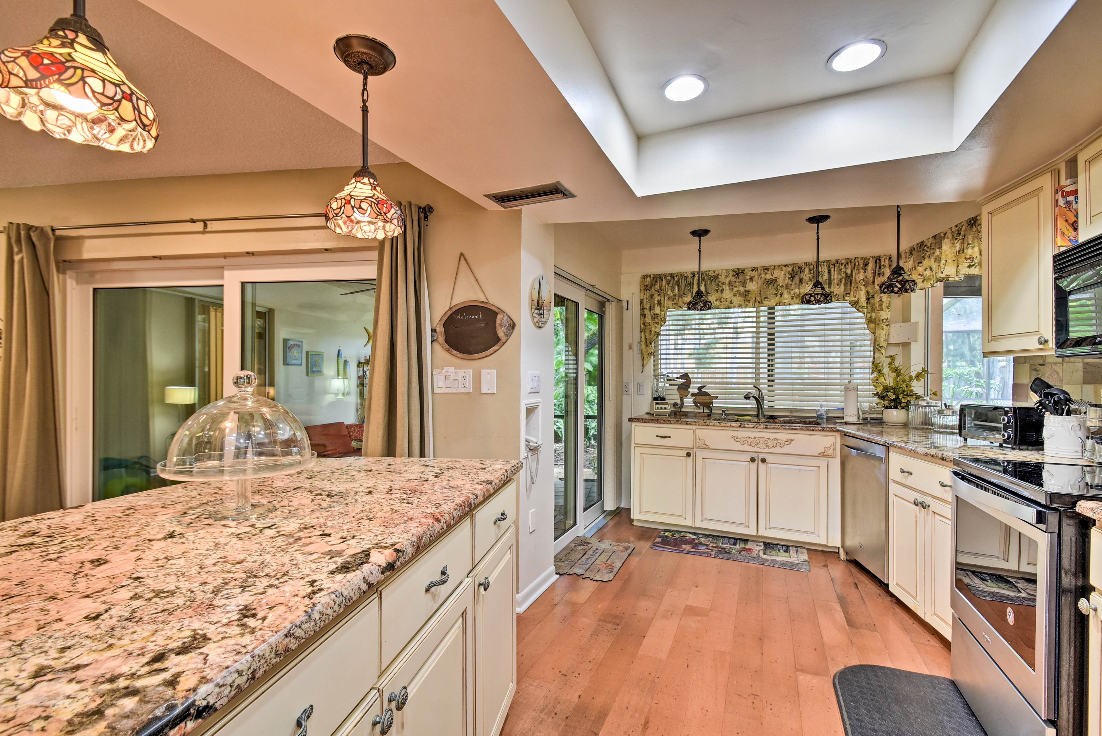 Granite counters hold all of the supplies you could need.