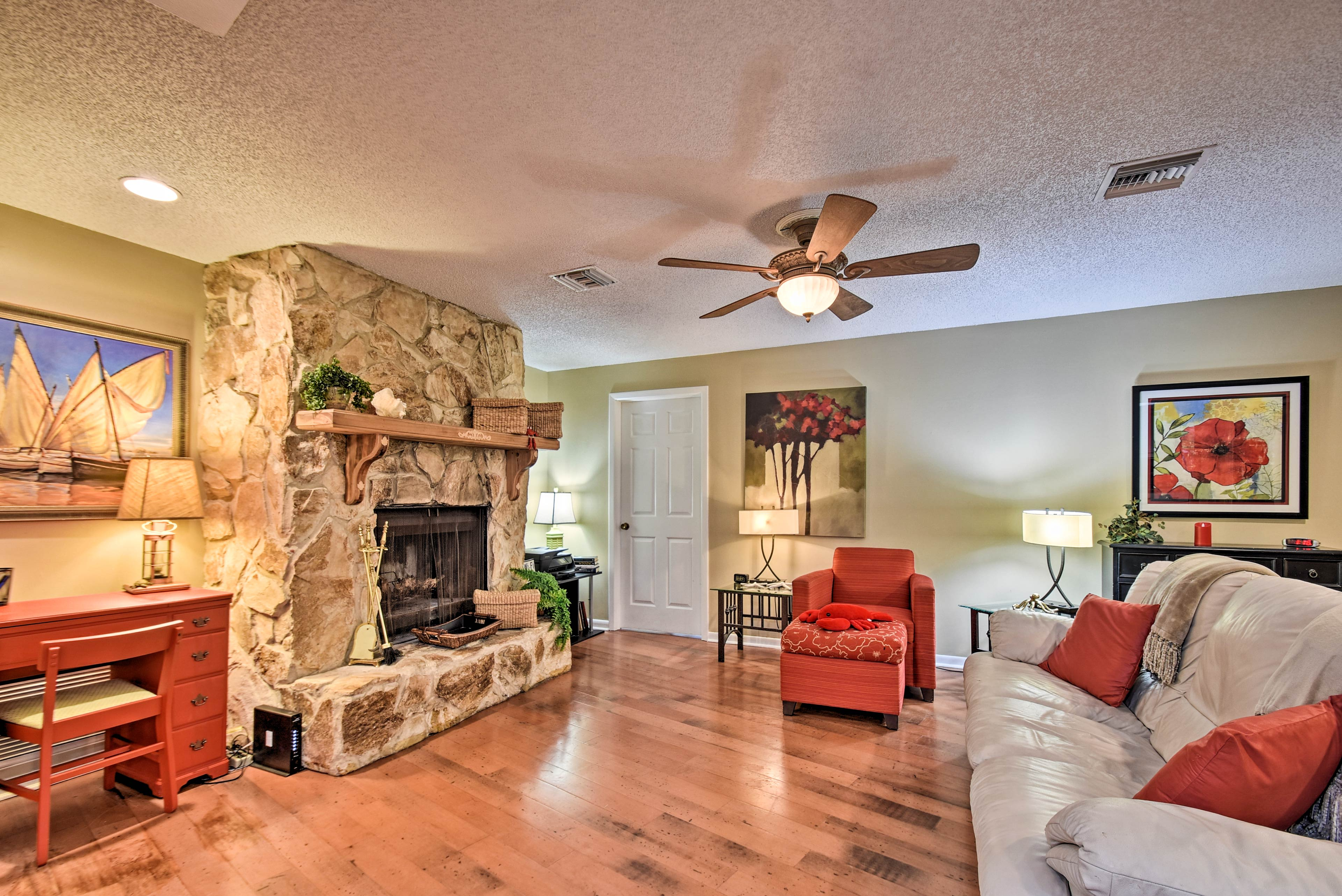 Kick back in front of the stone fireplace.