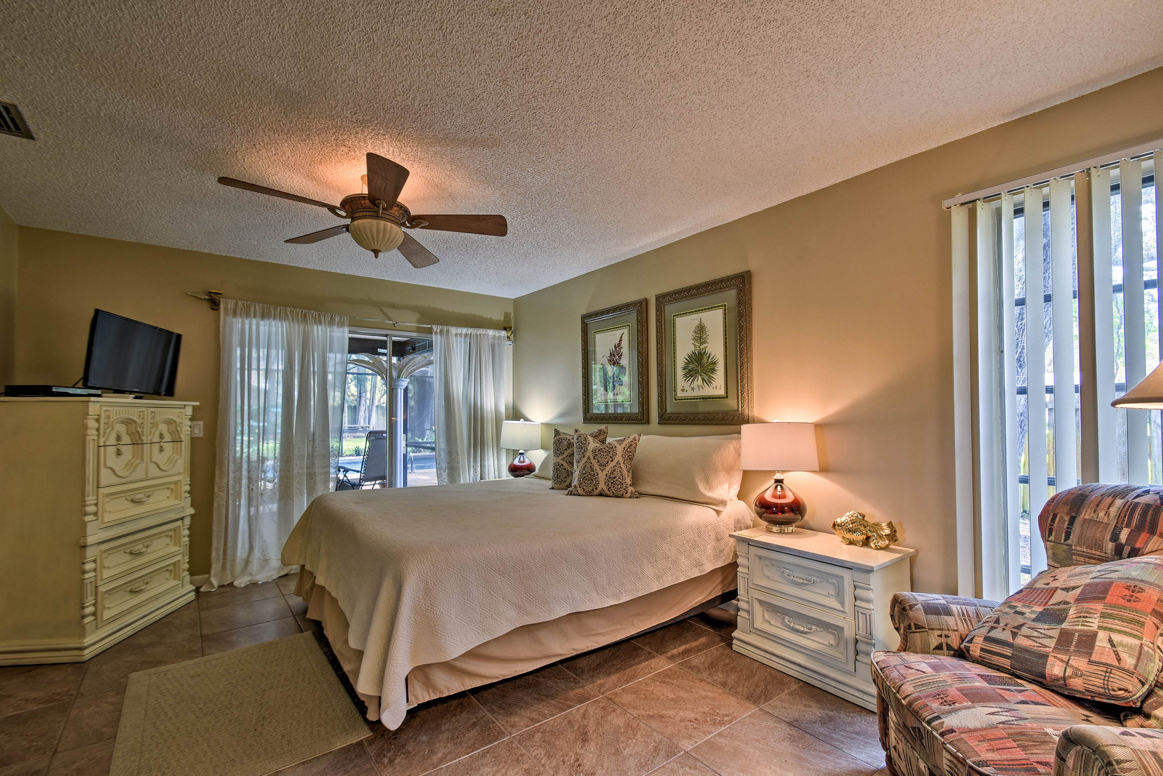 The master bedroom has a large king-sized bed to lie back in during downtime.