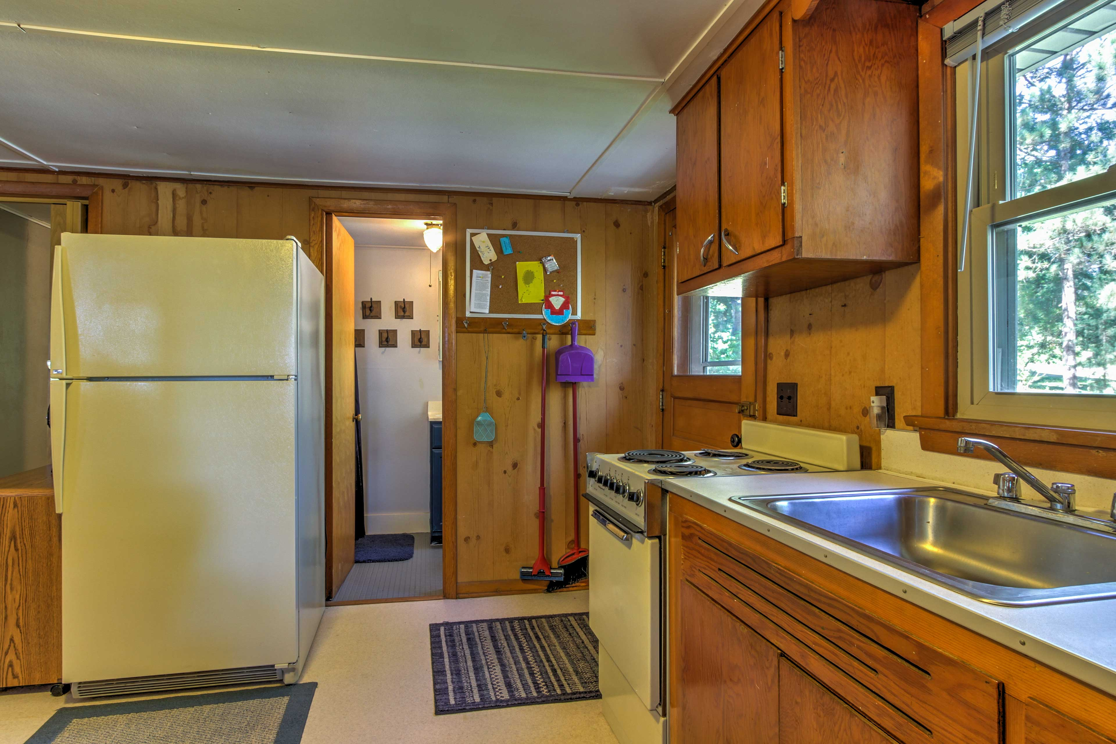 You'll find wood-paneled walls throughout the cabin!