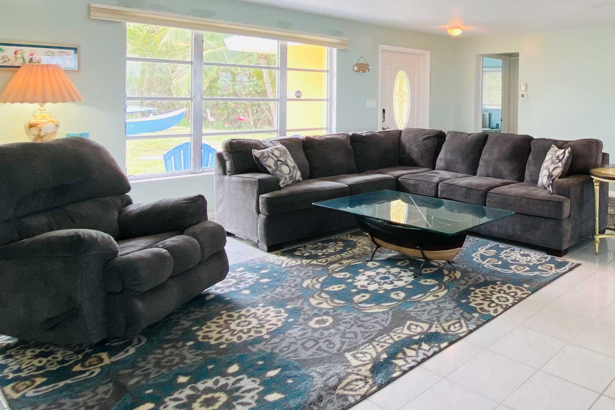 The living room has been updated with new furnishings!