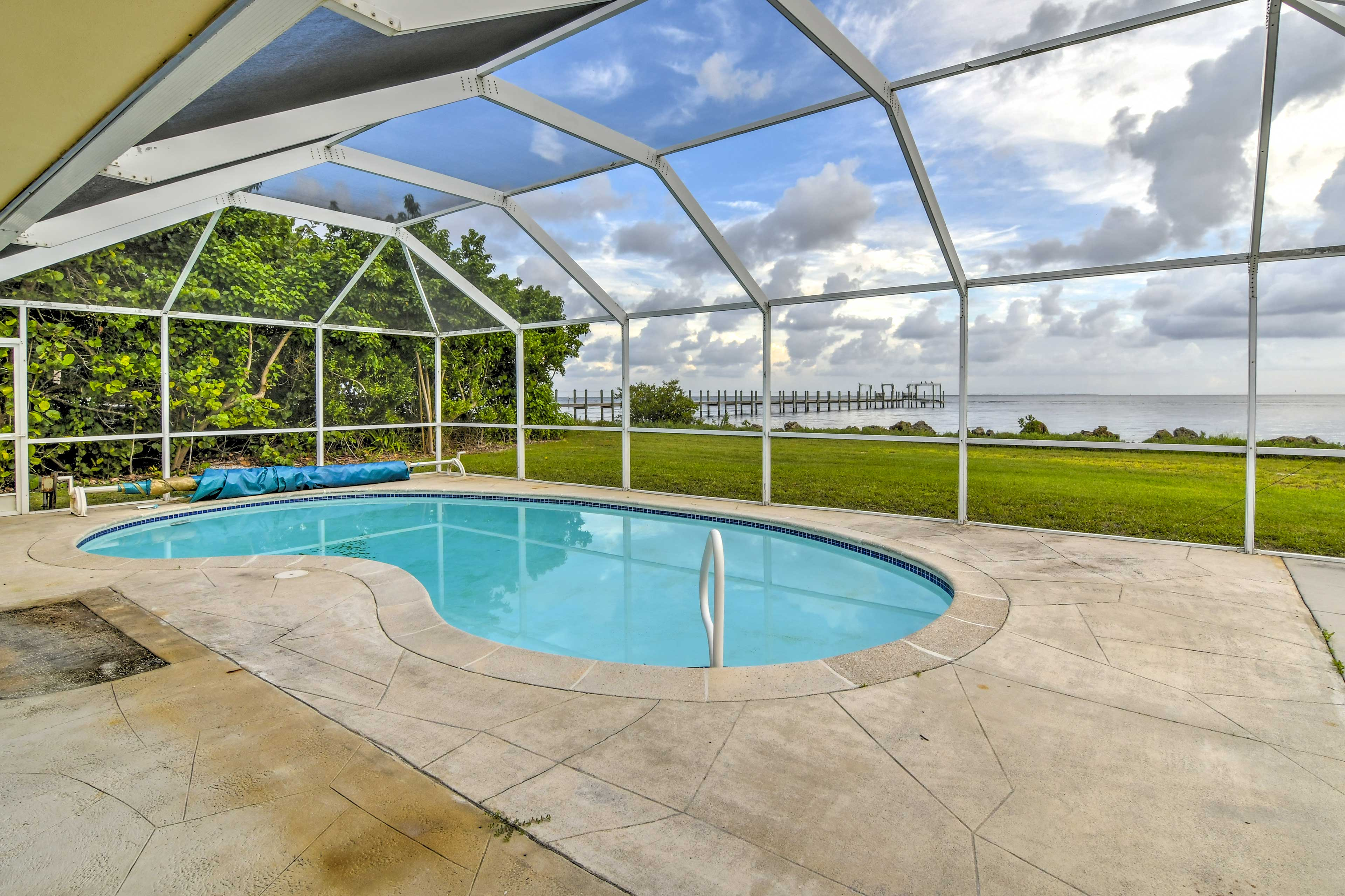 Spend the afternoon lounging next to the covered, unheated pool.