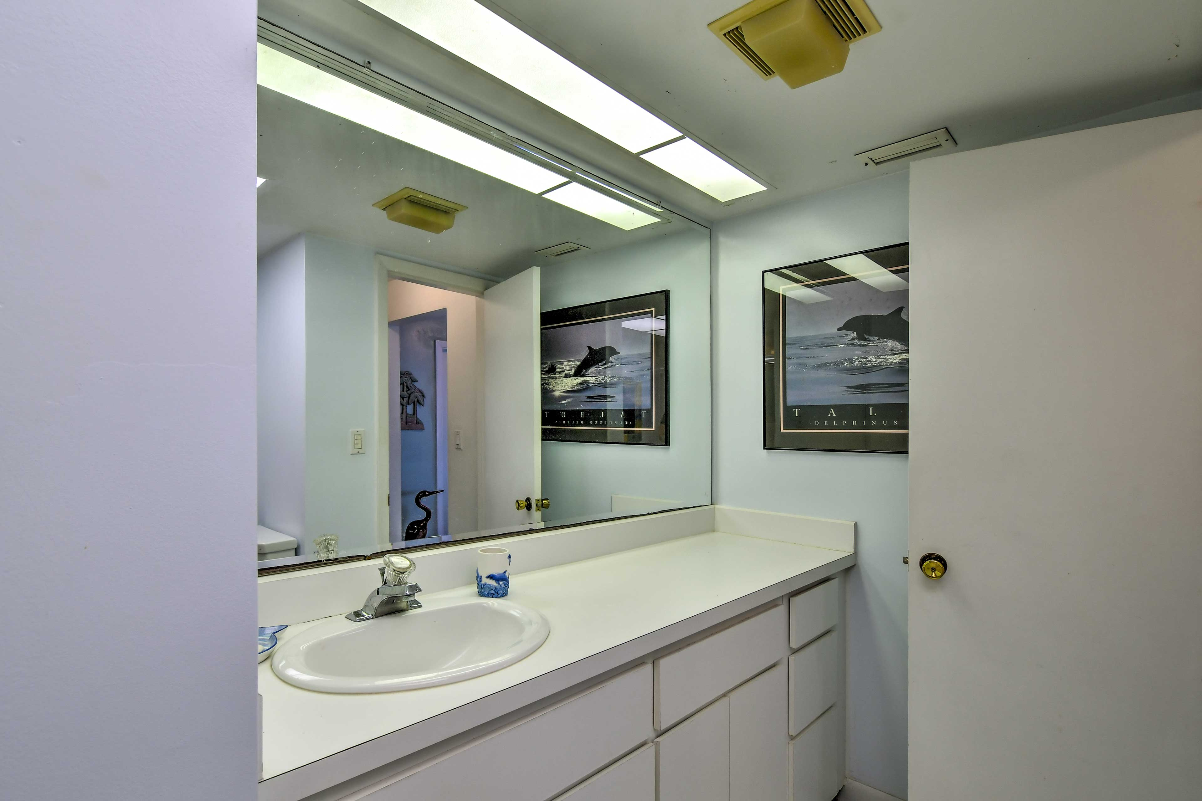 The guest bathroom provides extra space for getting ready each day.