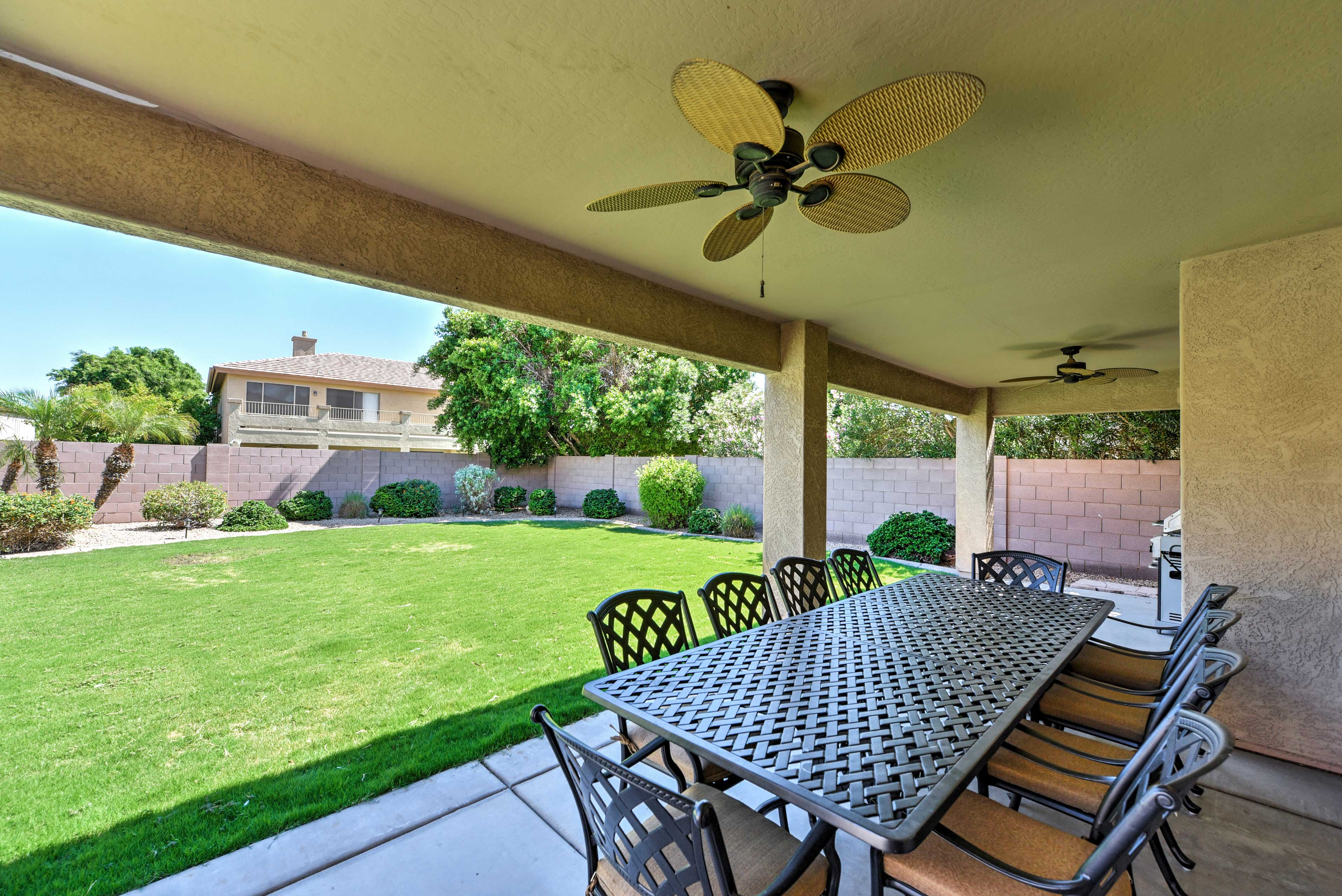 Fire up the grill and dine al fresco on the covered patio.