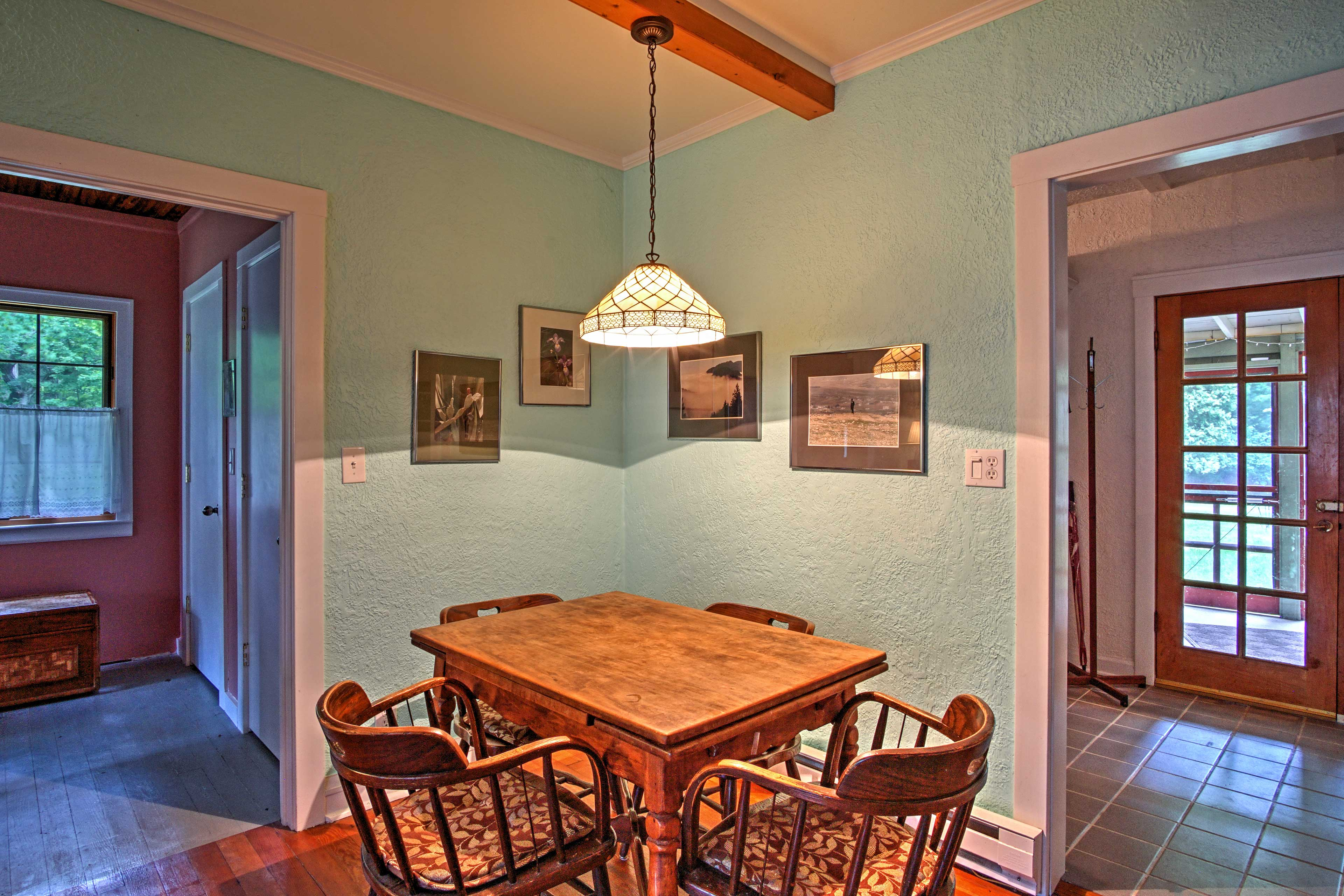 Gather around the dining table set for 4 and enjoy dinner.