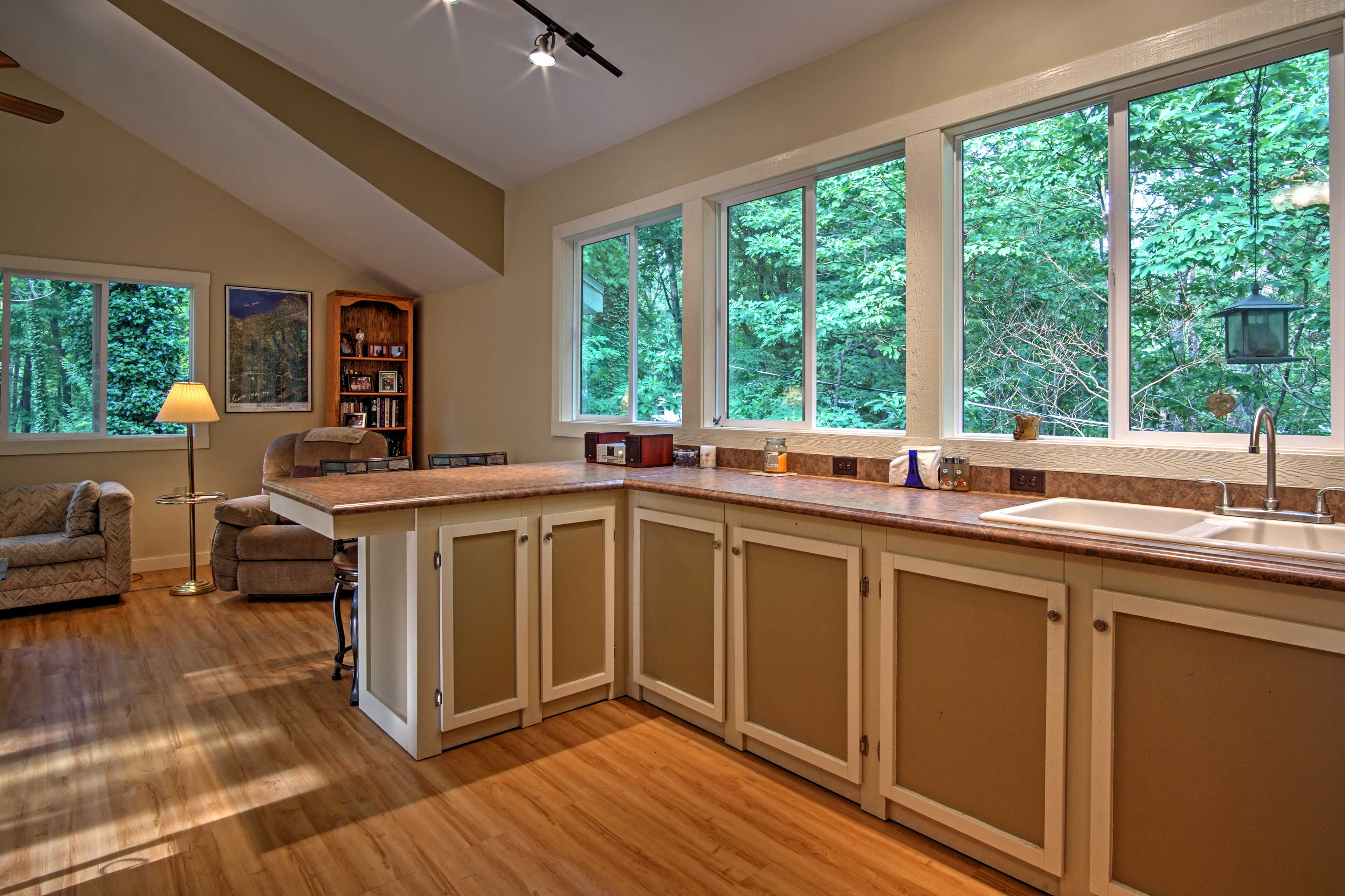 Admire the splendid views out the kitchen windows.