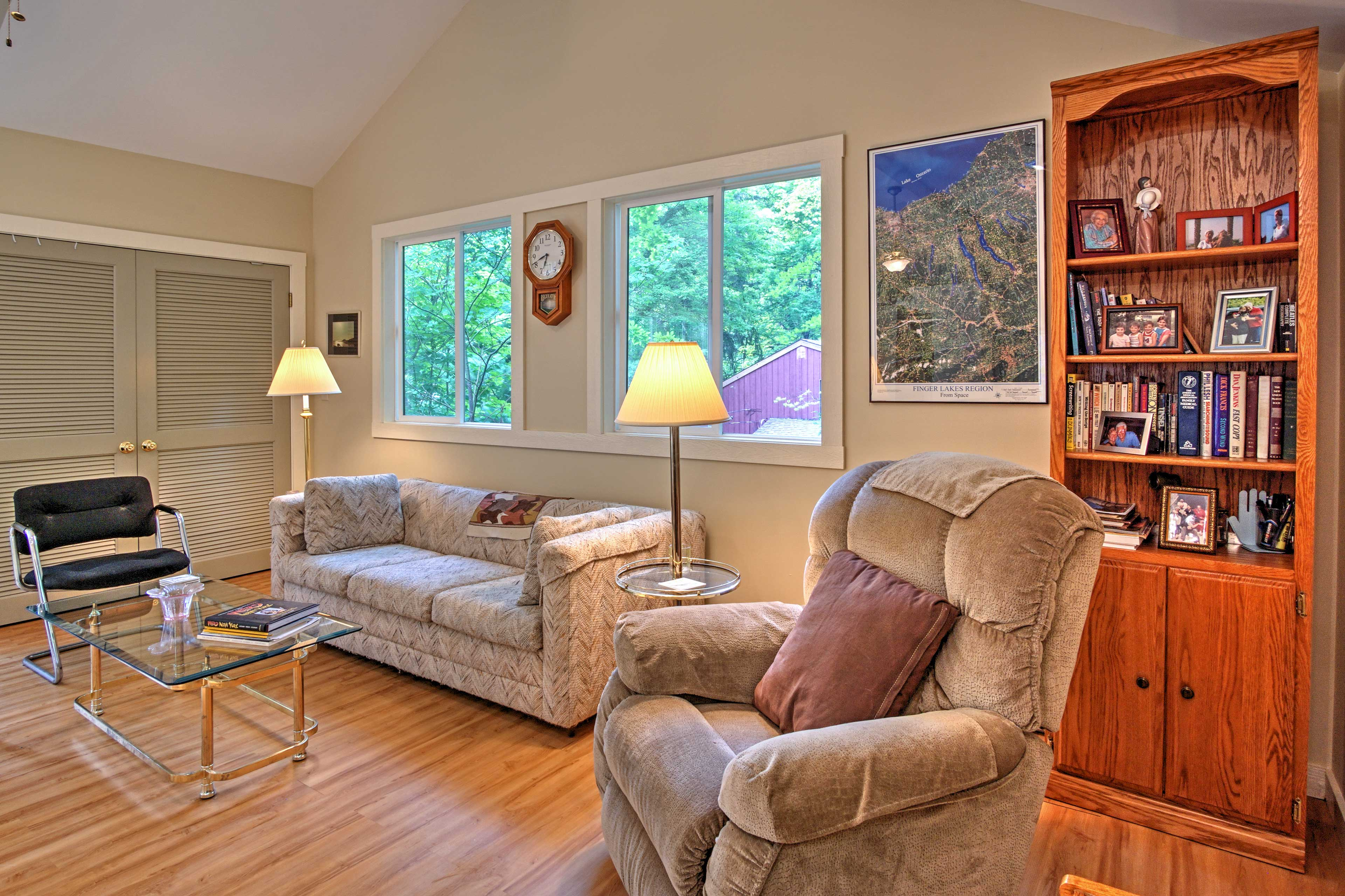 Relax in the living room with a good book.