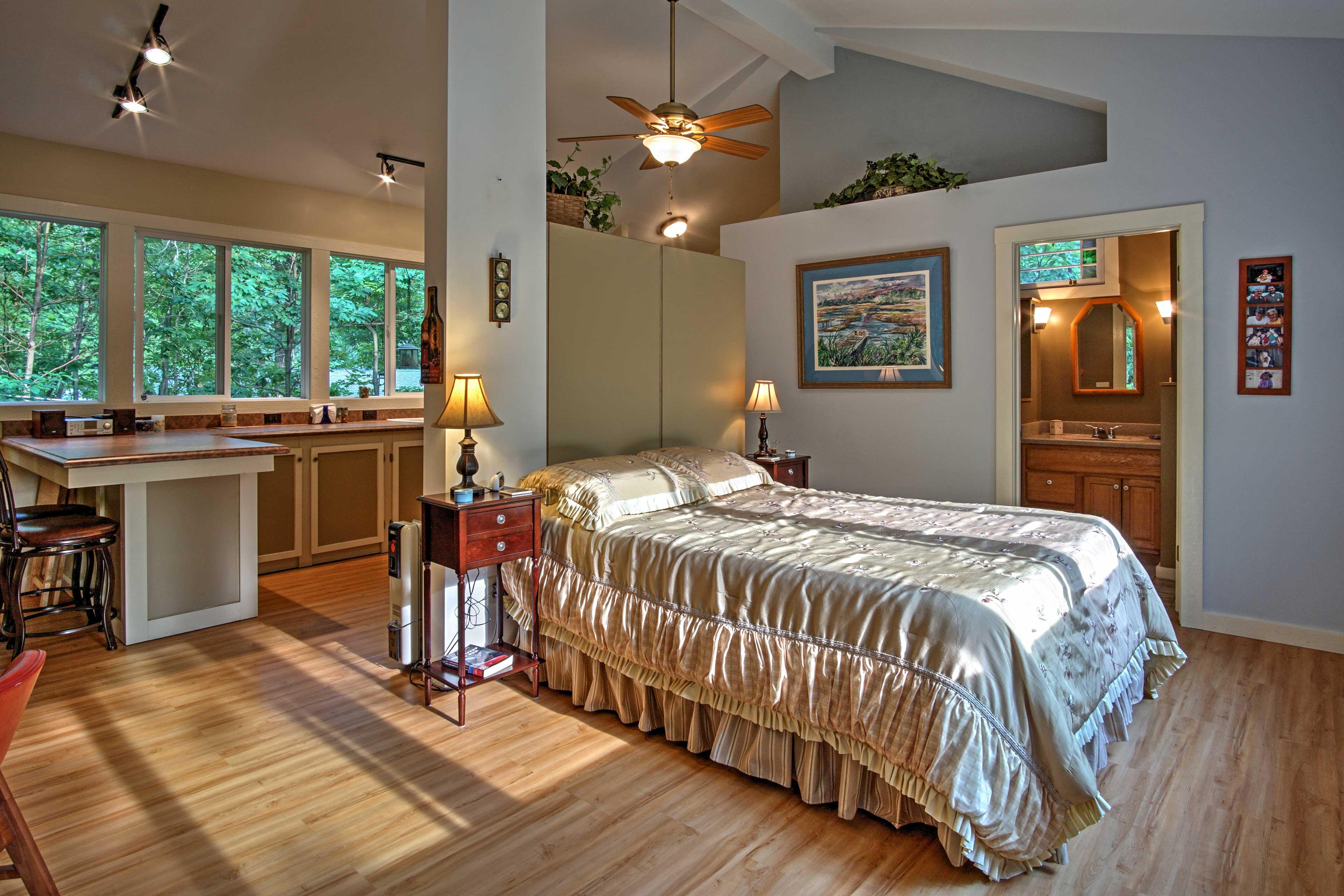 Enjoy restful nights of sleep in the plush queen bed.