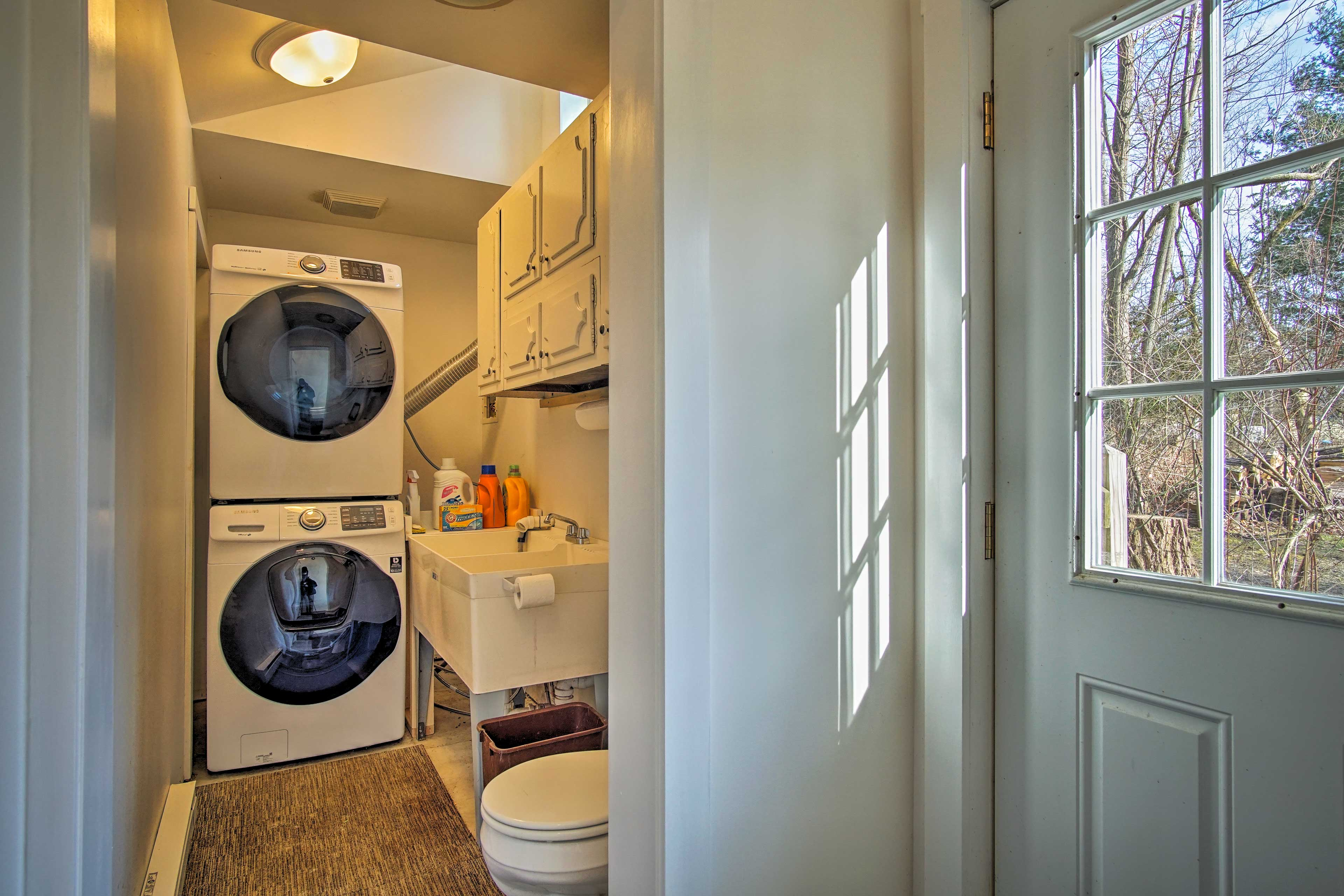 The washer and dryer will keep your clothes fresh!