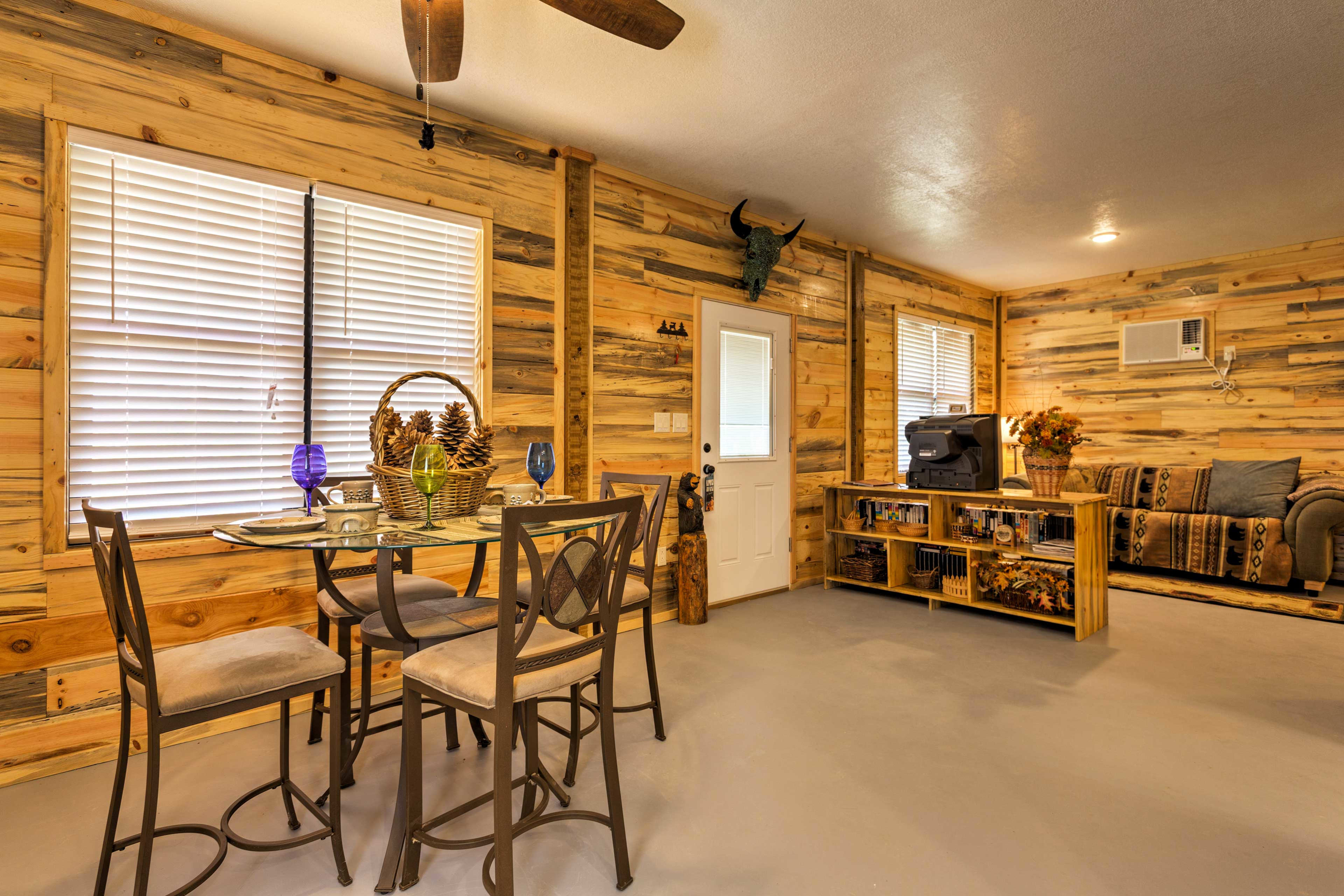 Step inside to make yourself at home in the cozy, rustic house.