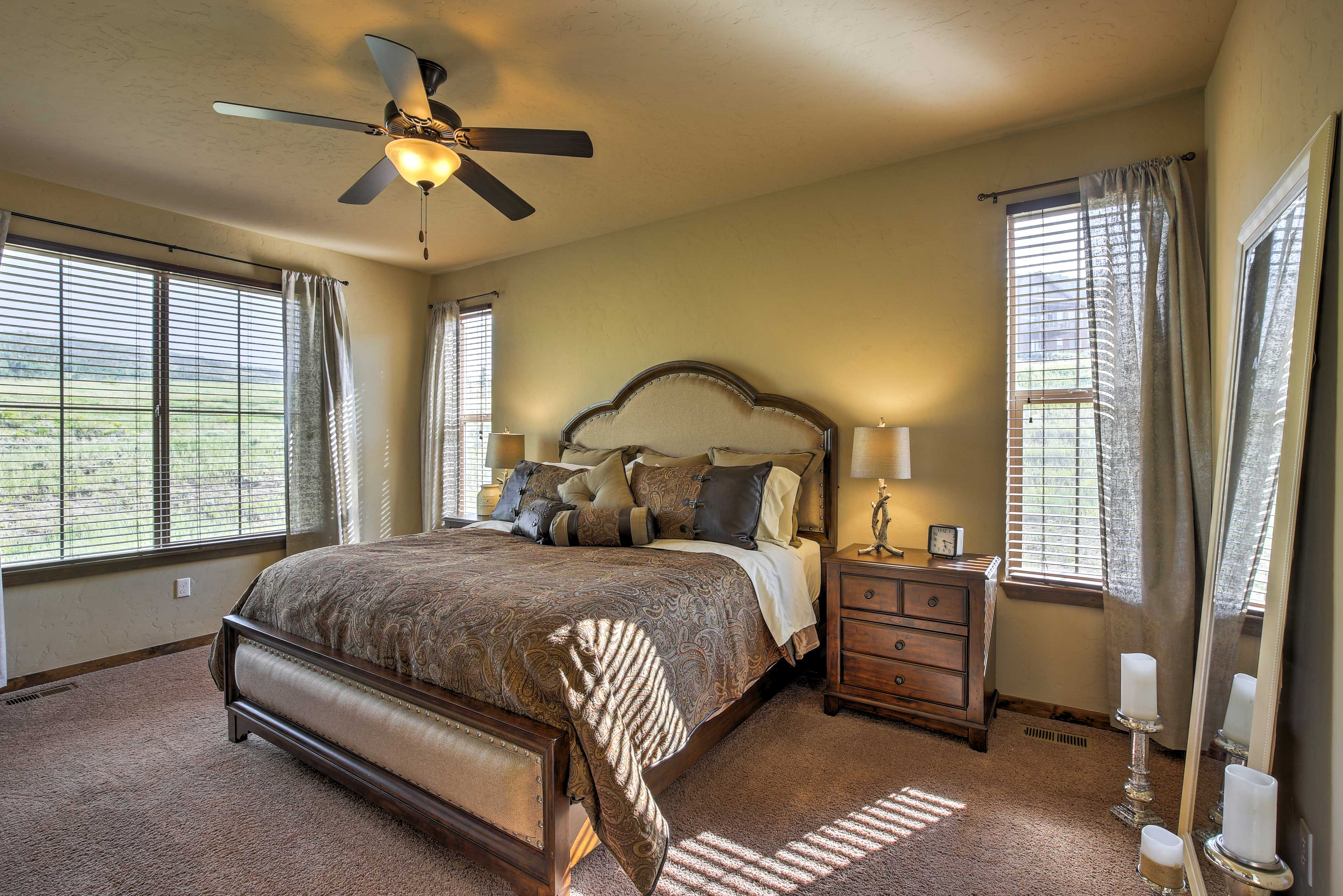 This master bedroom has a King-sized bed.