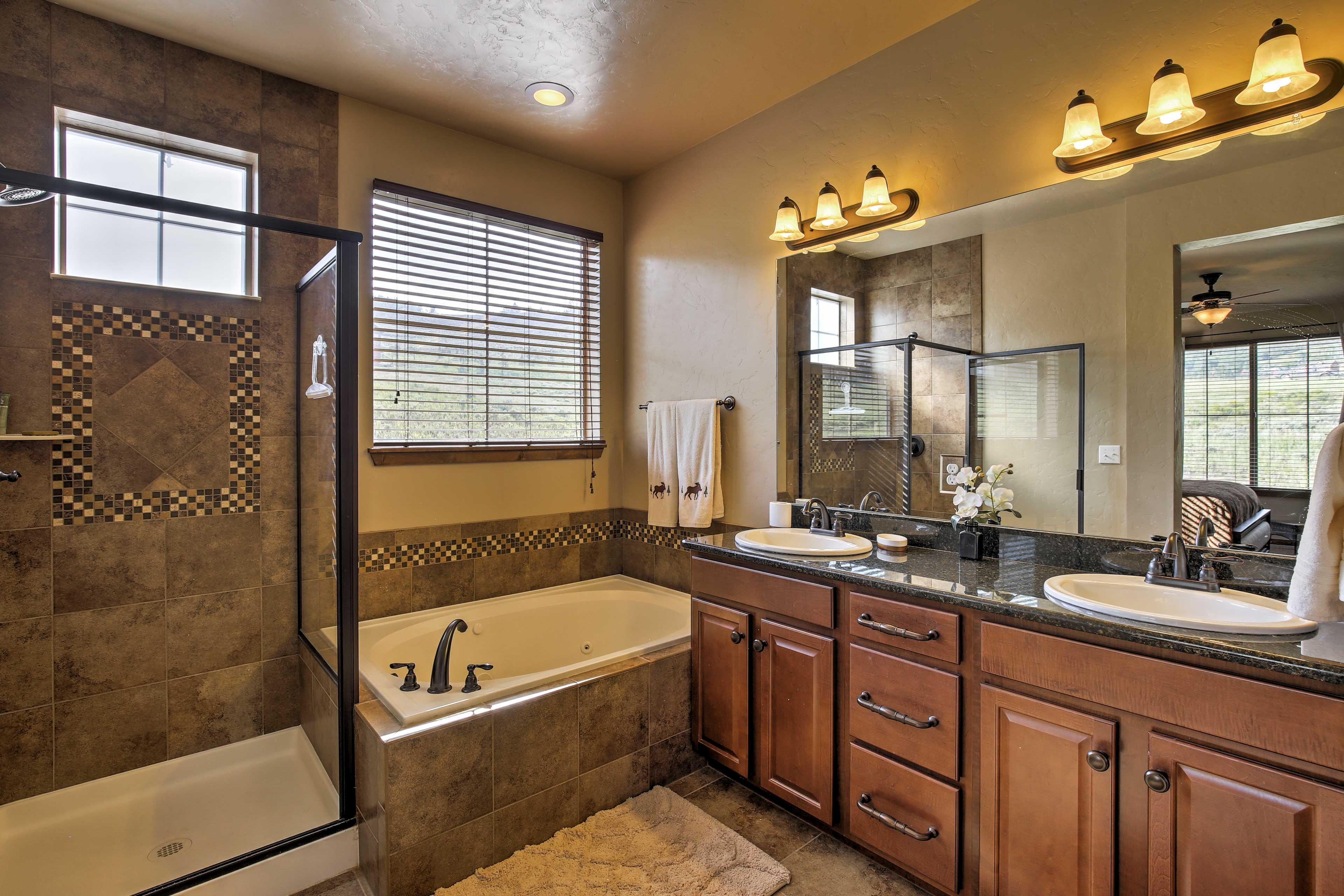Take a bubble bath in the master suite.
