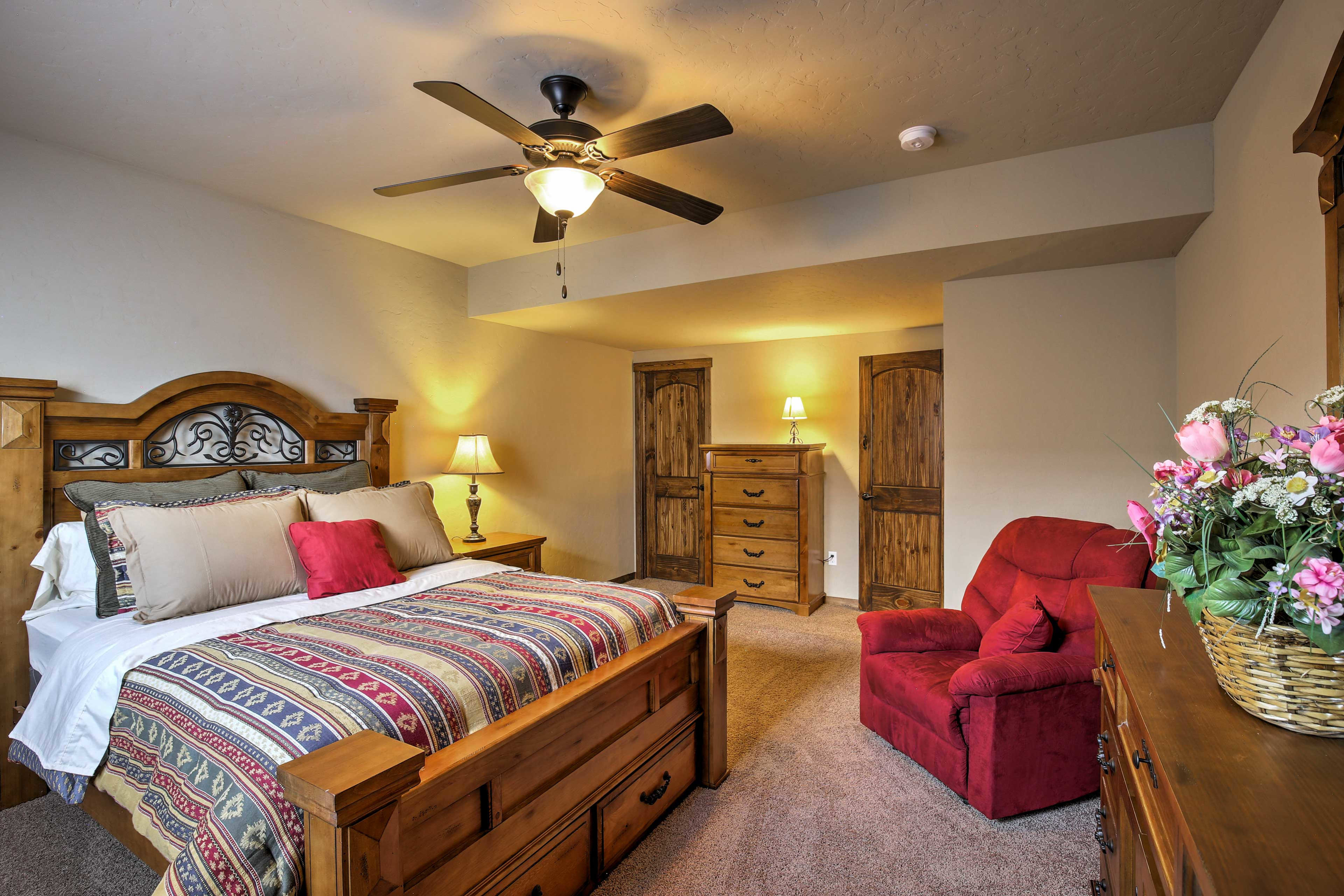 A second master bedroom has a queen-sized bed.
