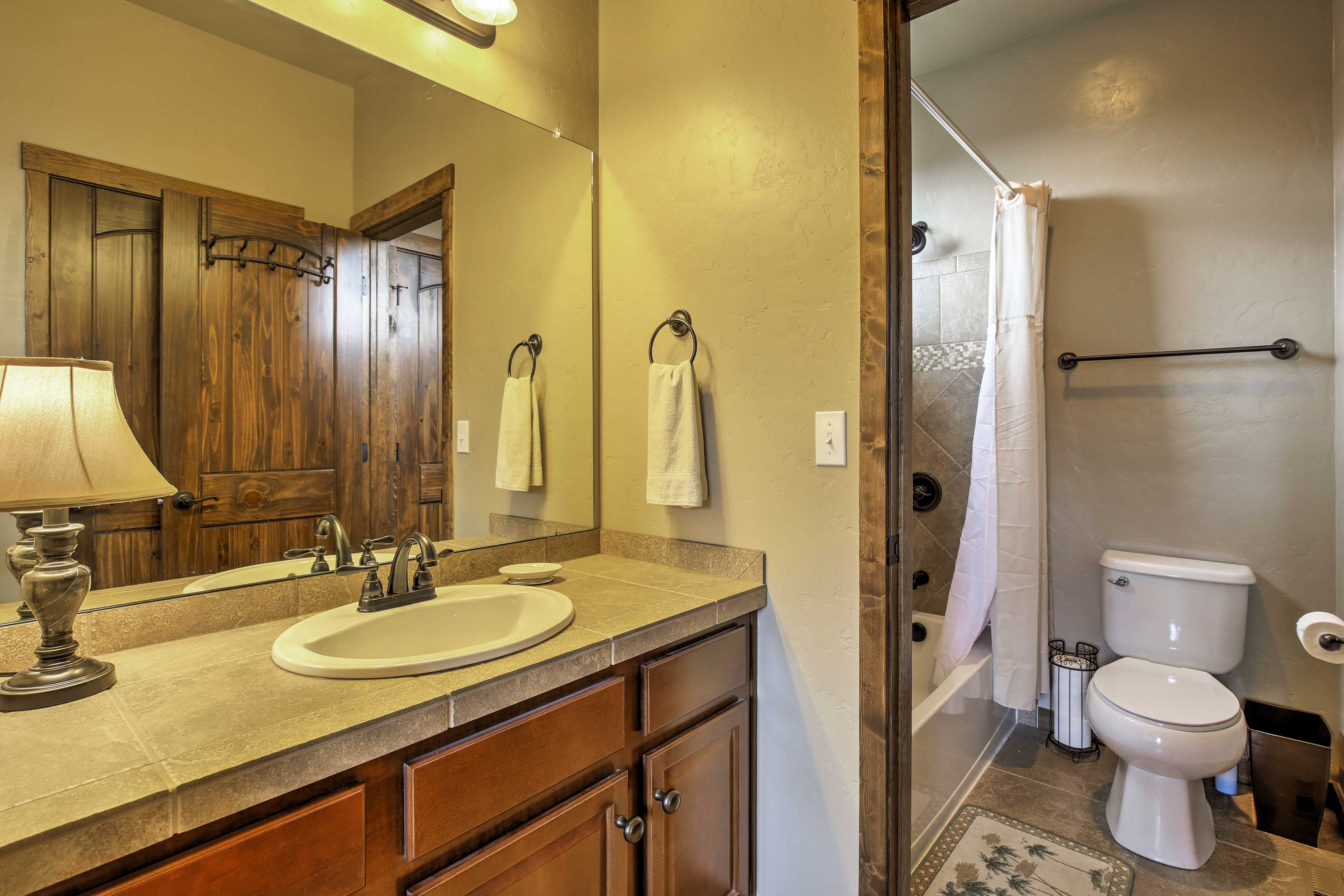 Rinse off in one of the 3 bathrooms.