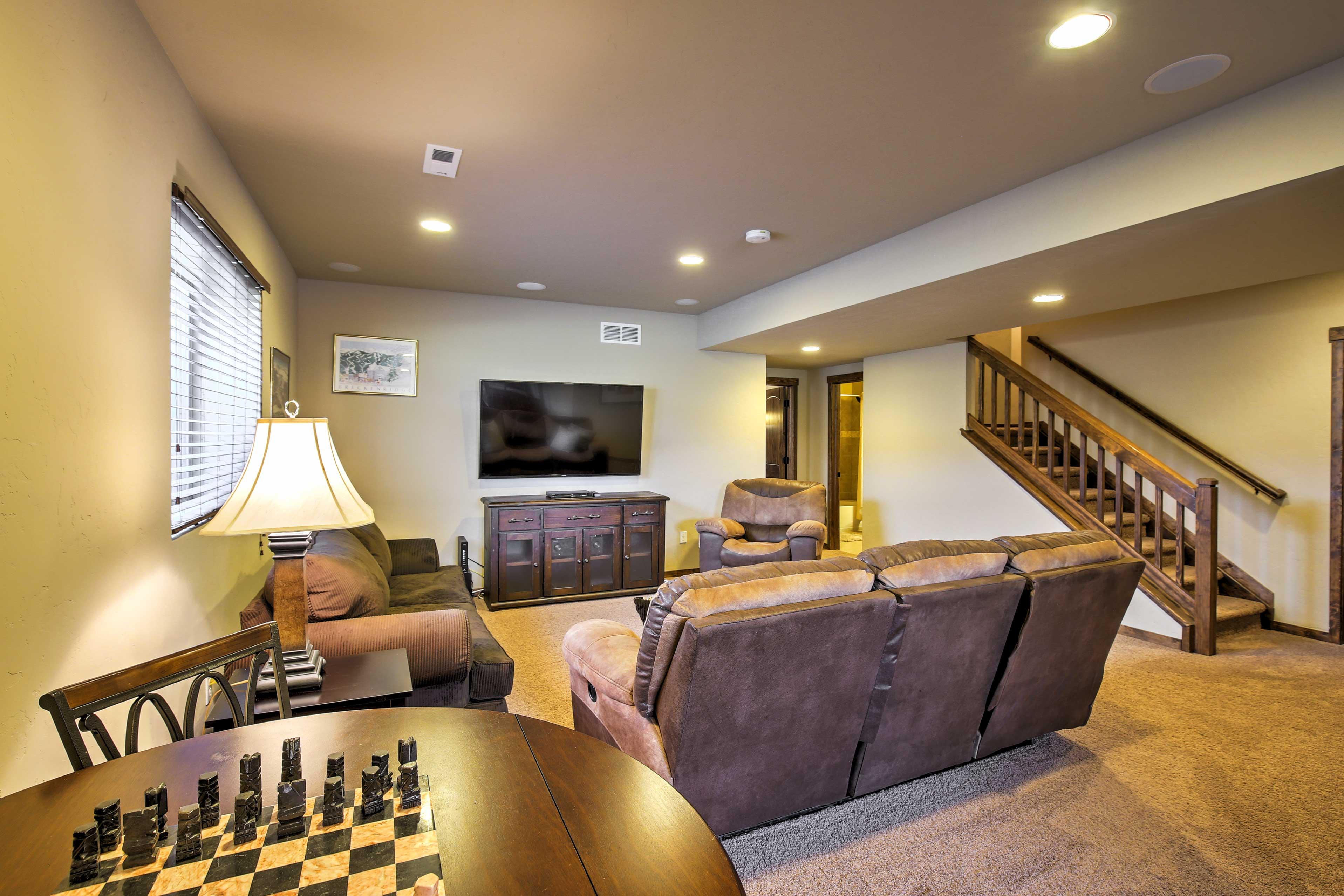 The basement offers a large entertainment spot.