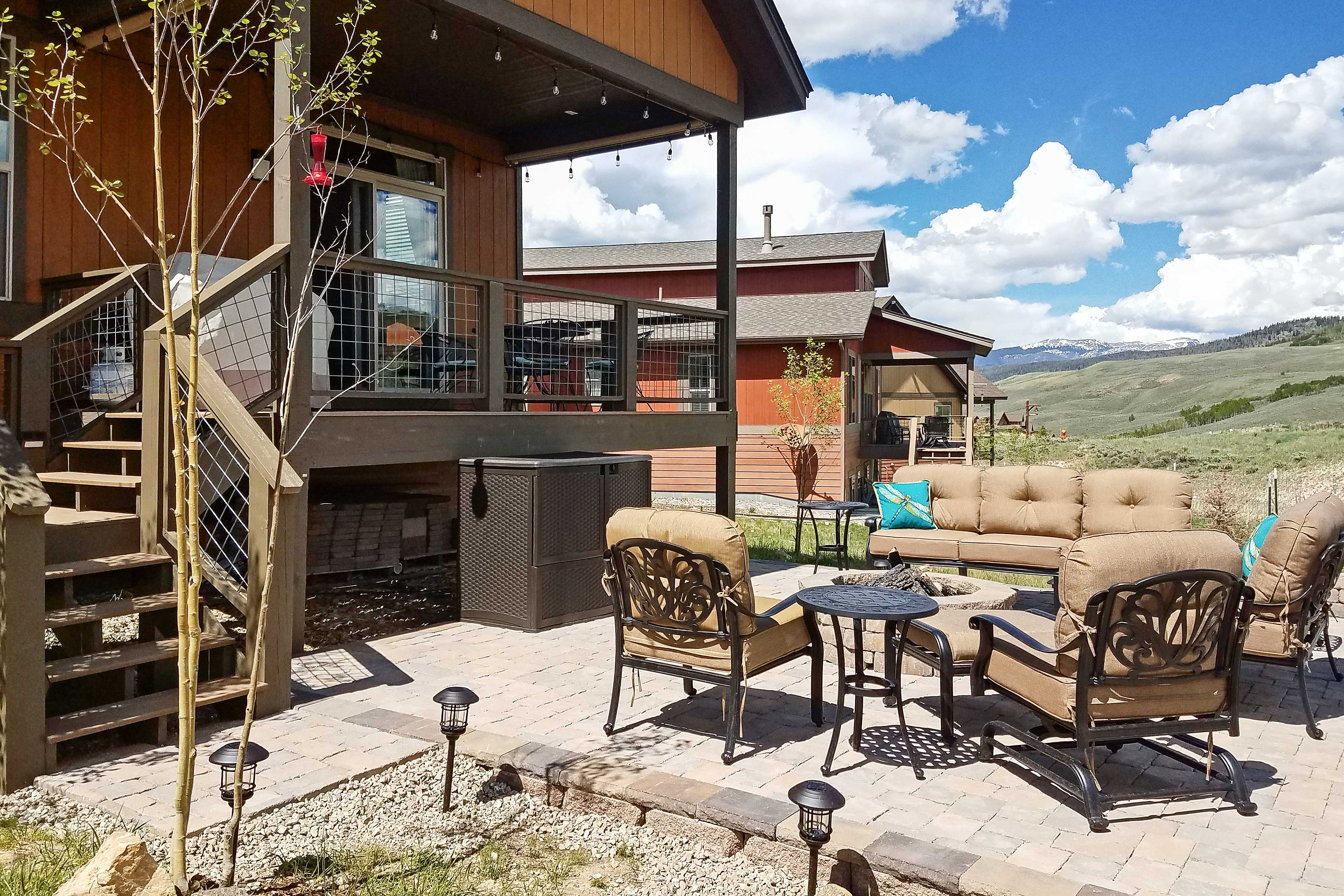 Gather around outside to enjoy the fresh air and comfortable seating.