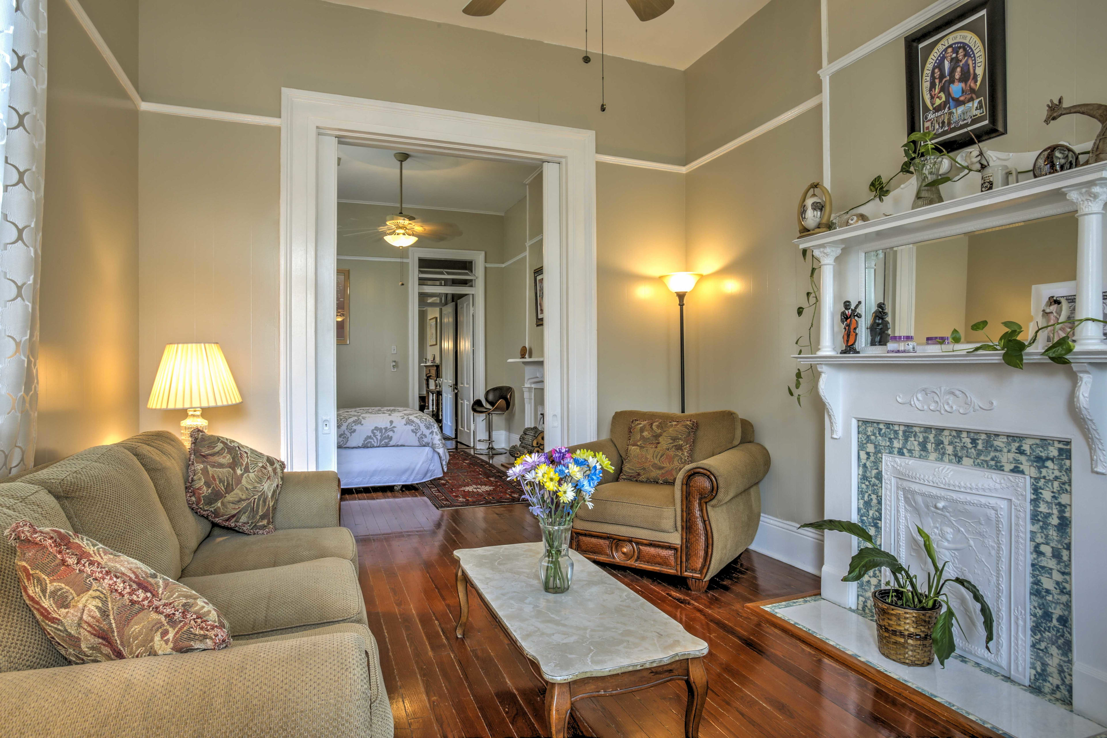 You'll find hardwood floors throughout the home.
