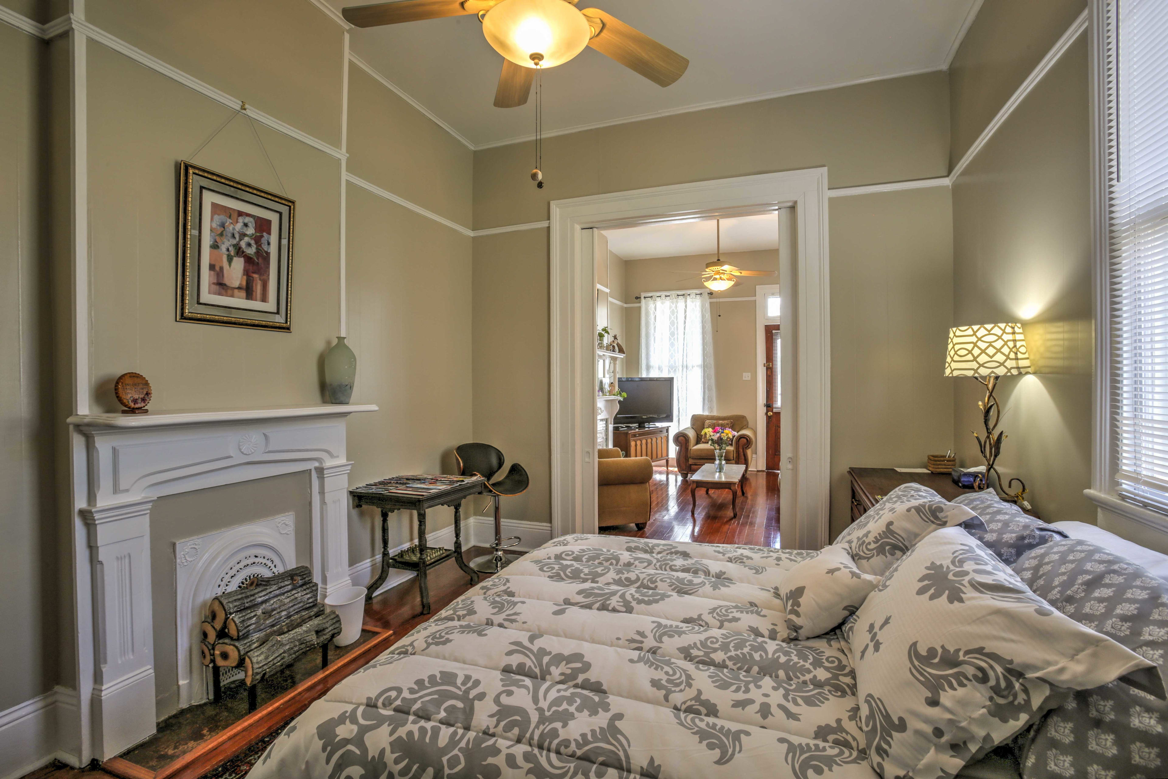 Two guests can sleep comfortably in the queen-sized bed in the first bedroom.