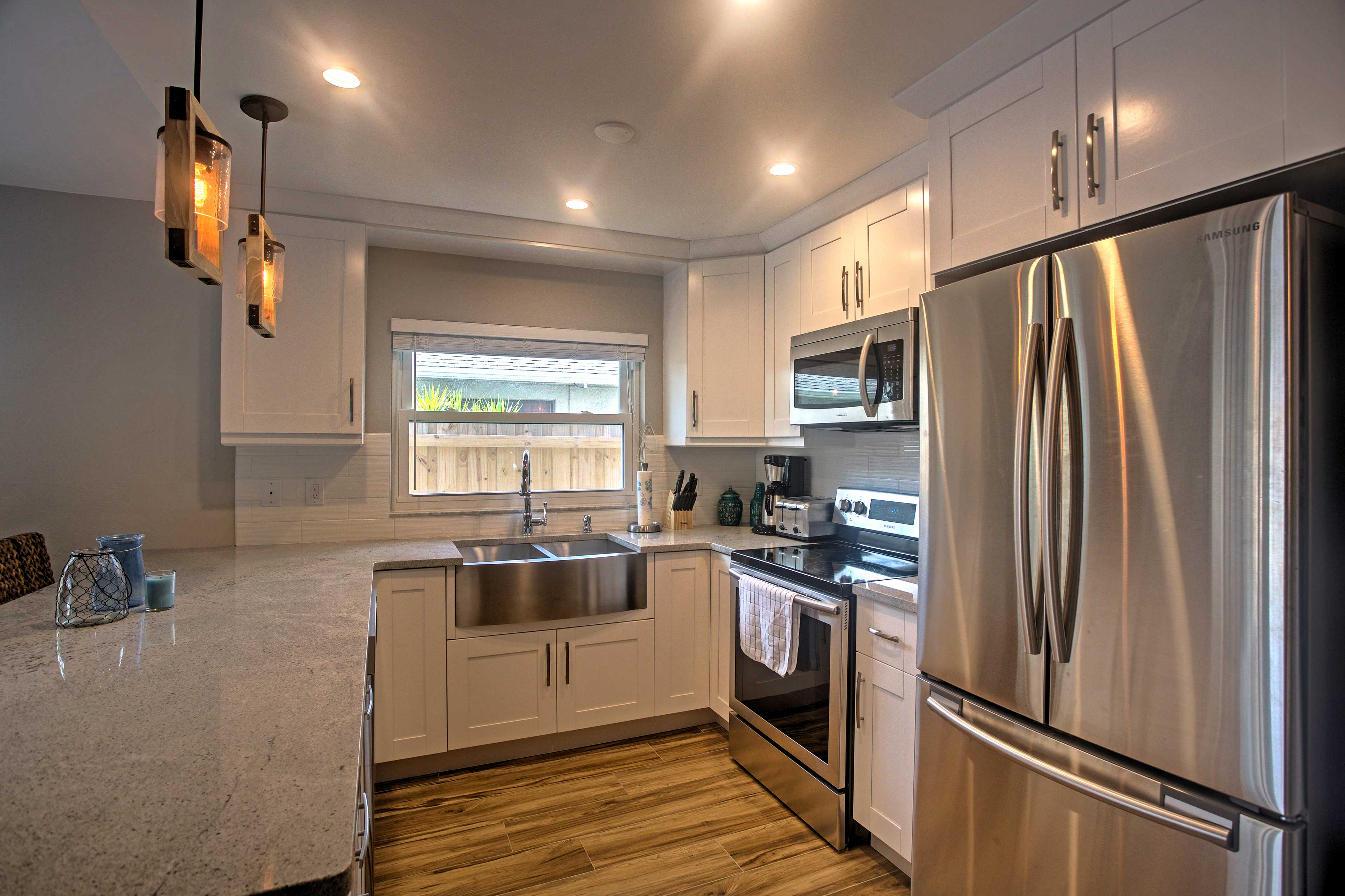 The fully equipped kitchen comes complete with stainless steal appliances.