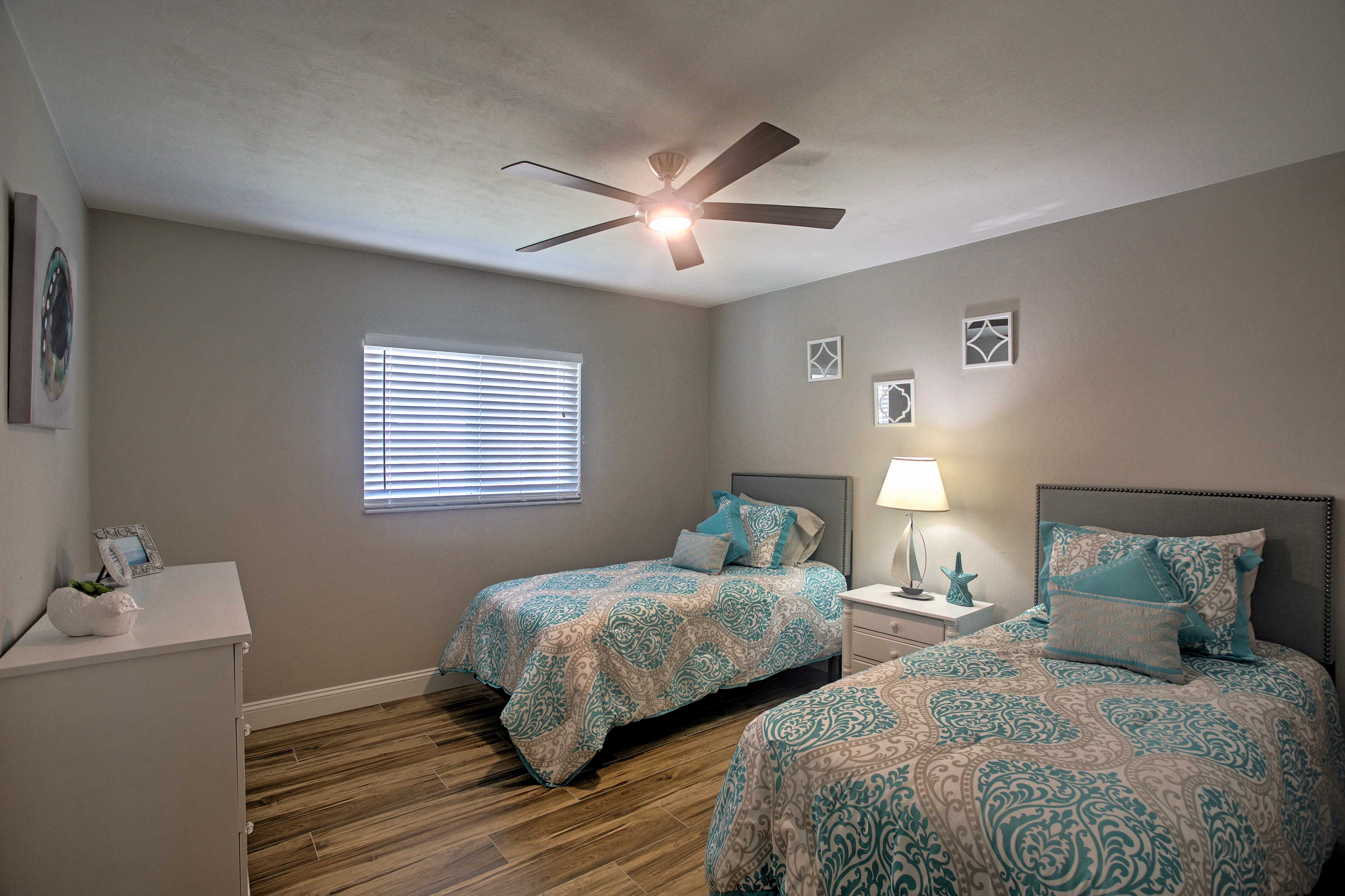 Those staying in this last bedroom will enjoy the comforts of 2 twin beds.