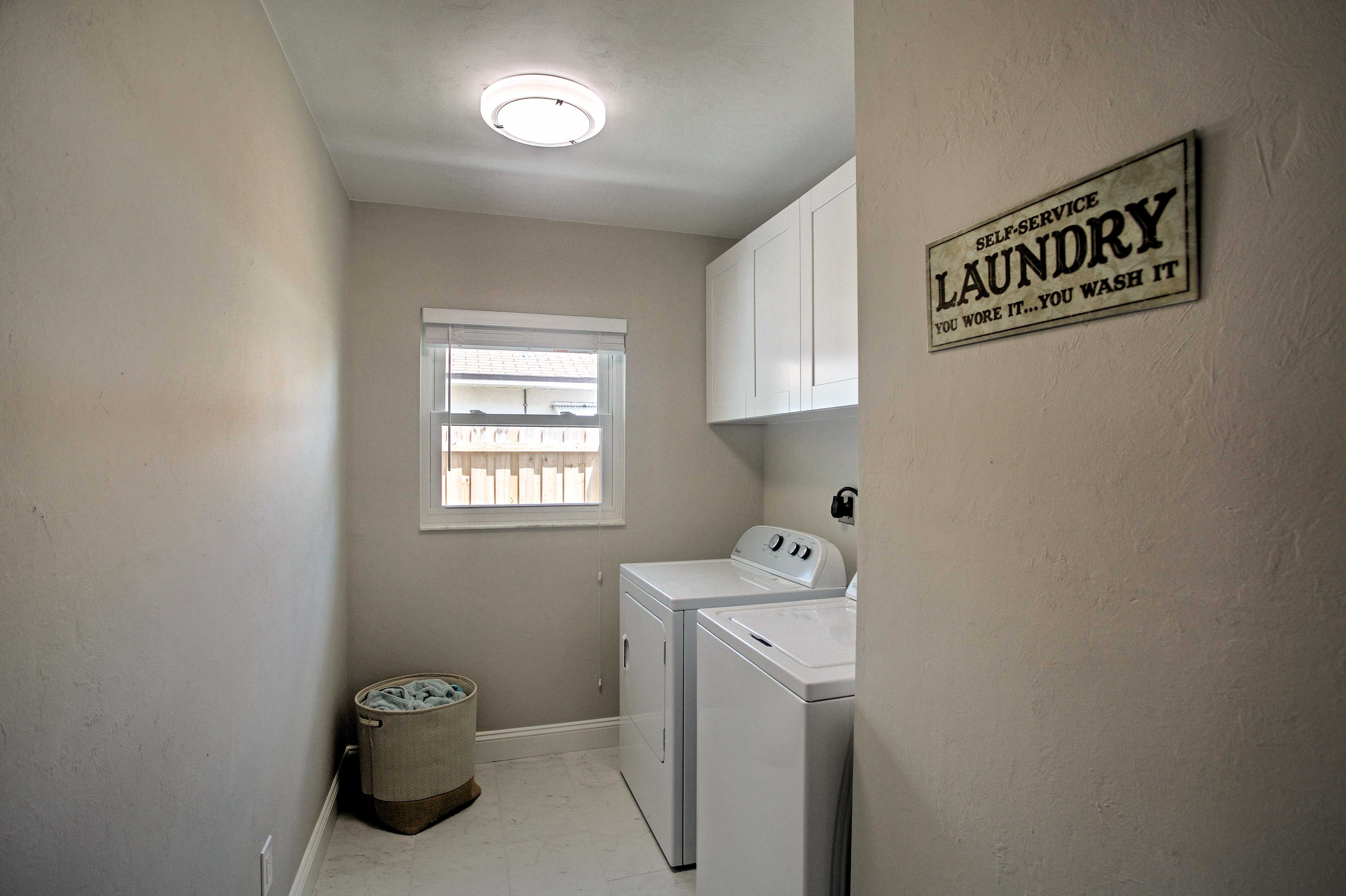 Keep your belongings fresh and clean by utilizing the home's laundry room.