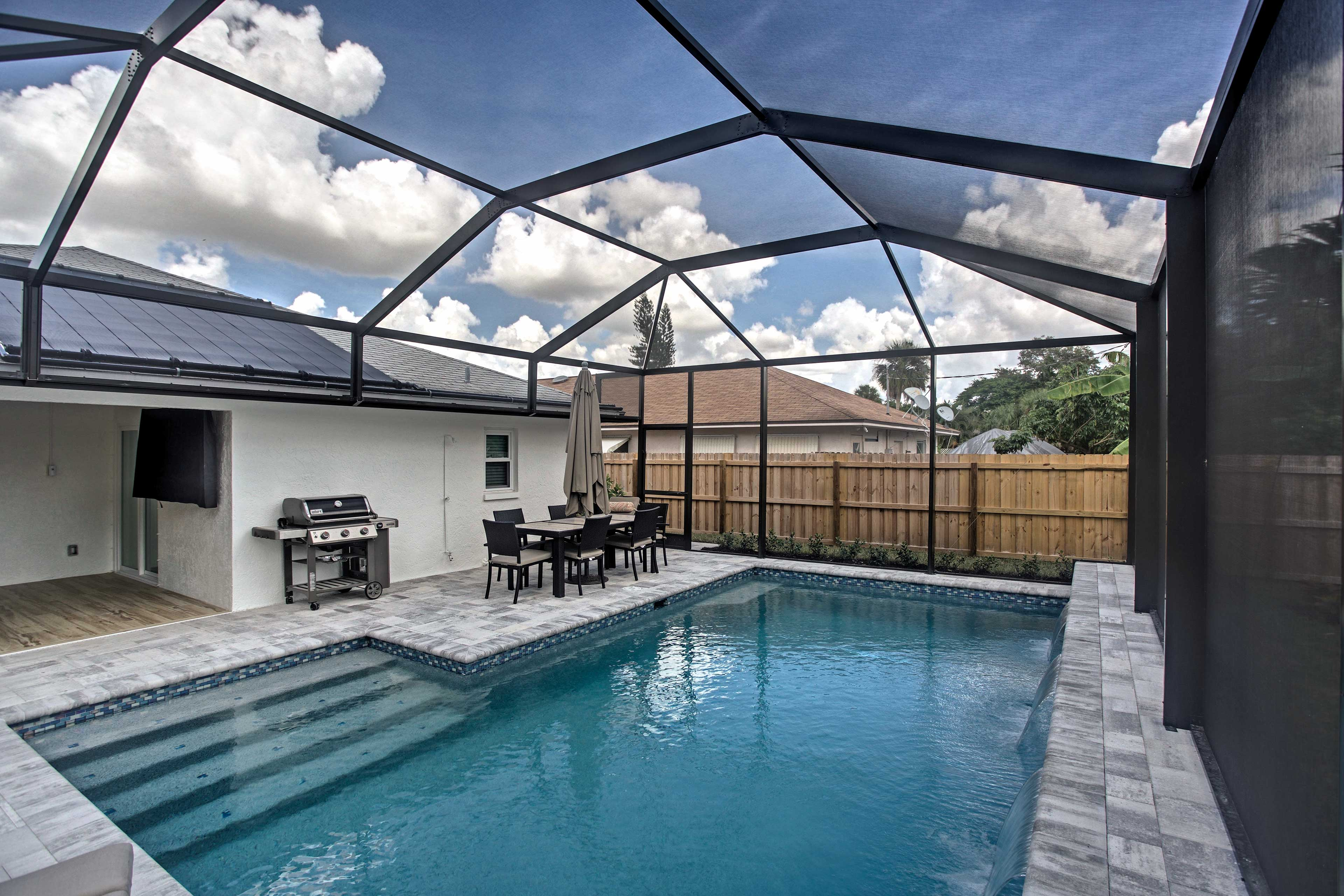 Take a dip in the pool before grilling up a barbecue dinner!