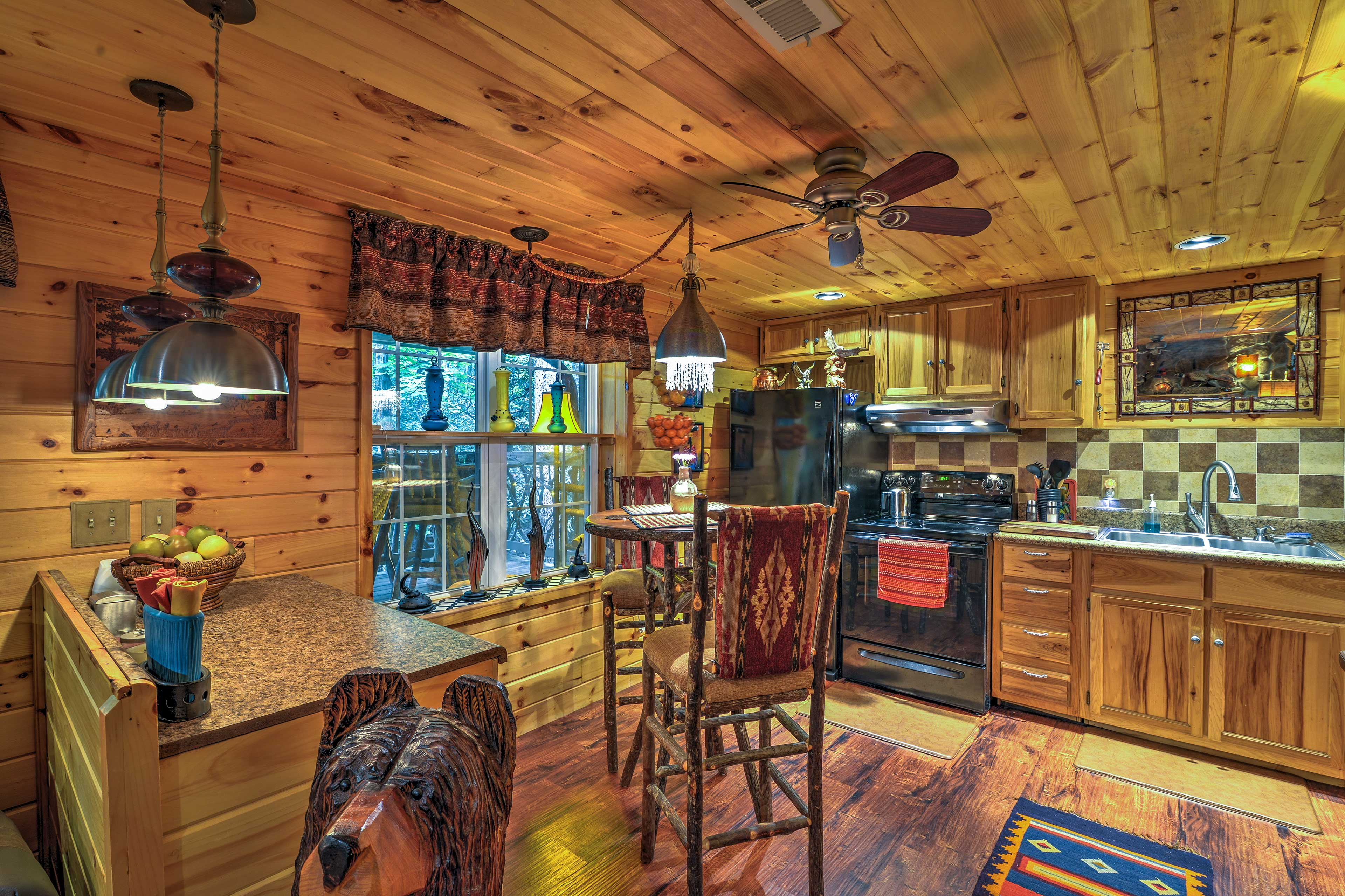 The fully equipped kitchen features updated appliances to make cooking a breeze.