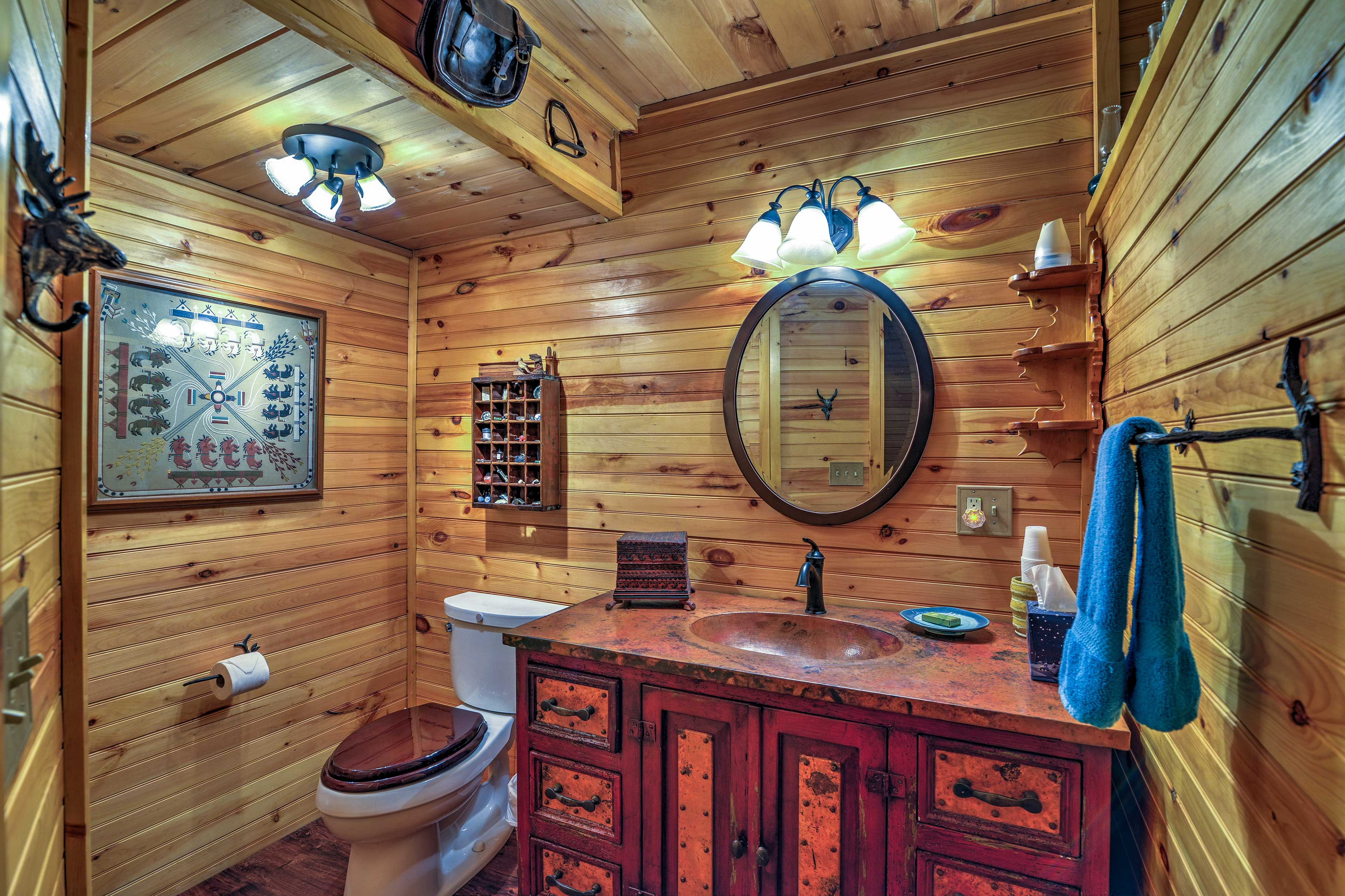There's plenty of room for all of your toiletries in the bathroom.