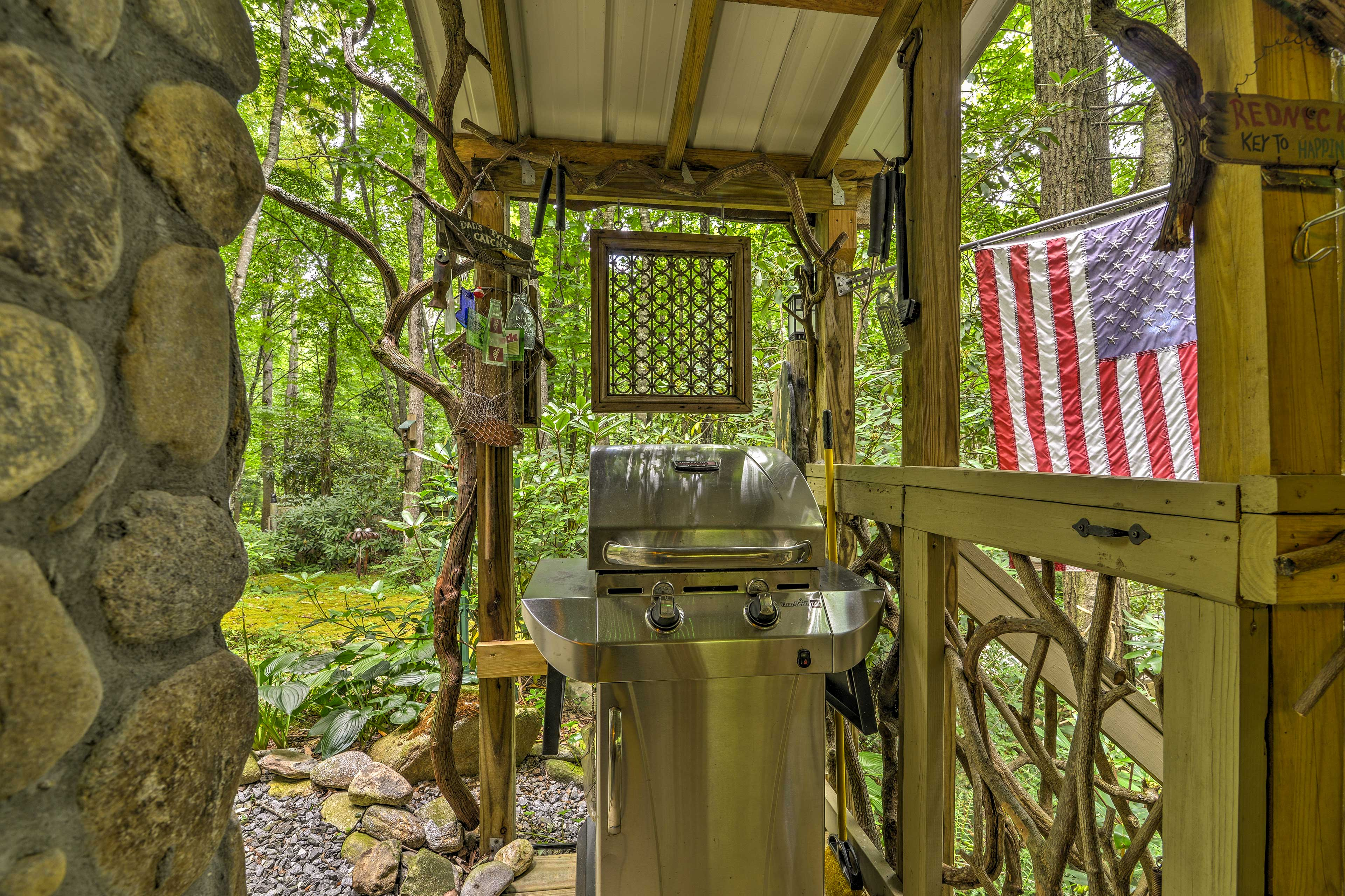 The gas grill is perfect for afternoon barbecues.