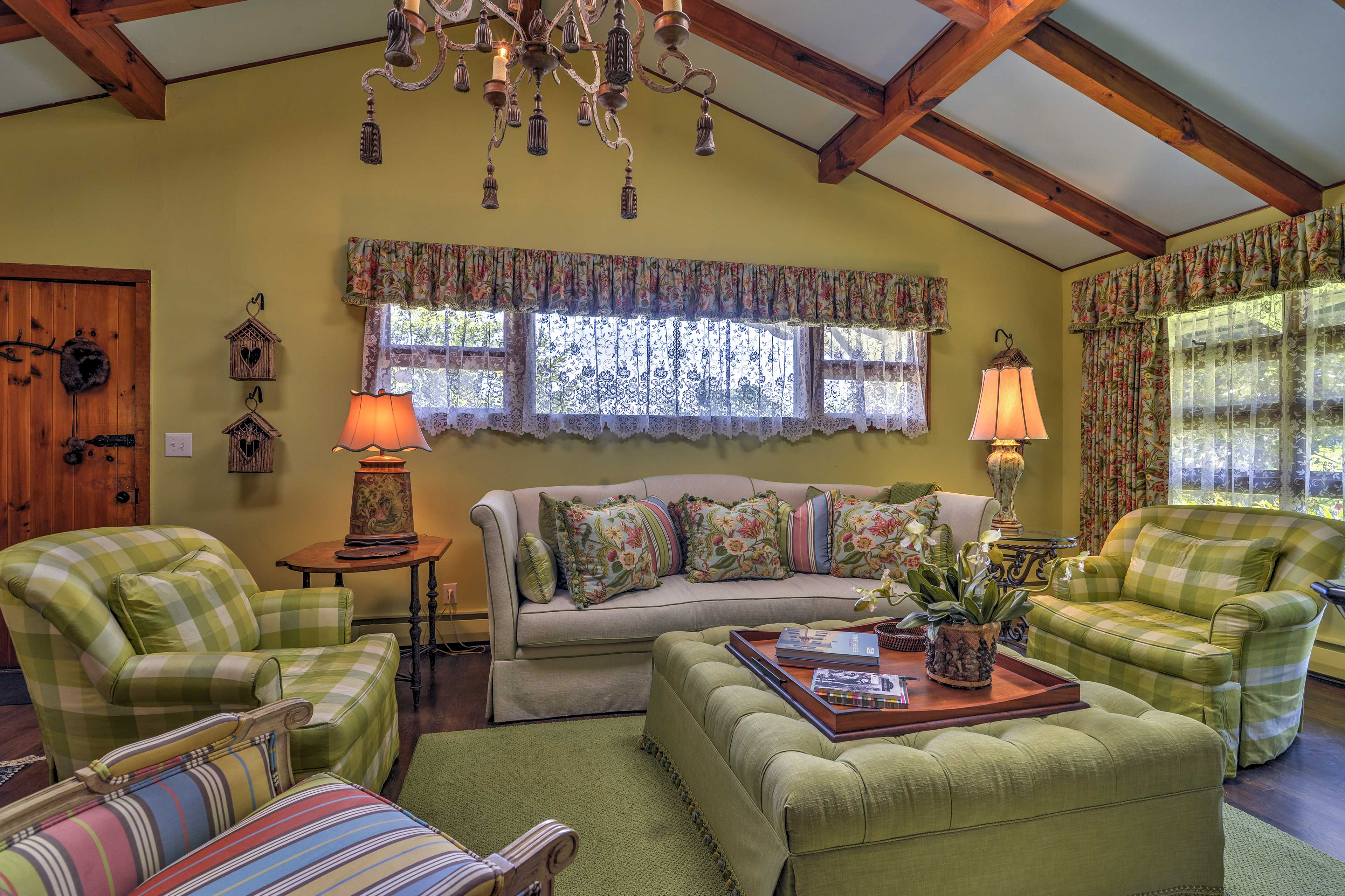 The vibrant living room is filled with one-of-a-kind pieces.