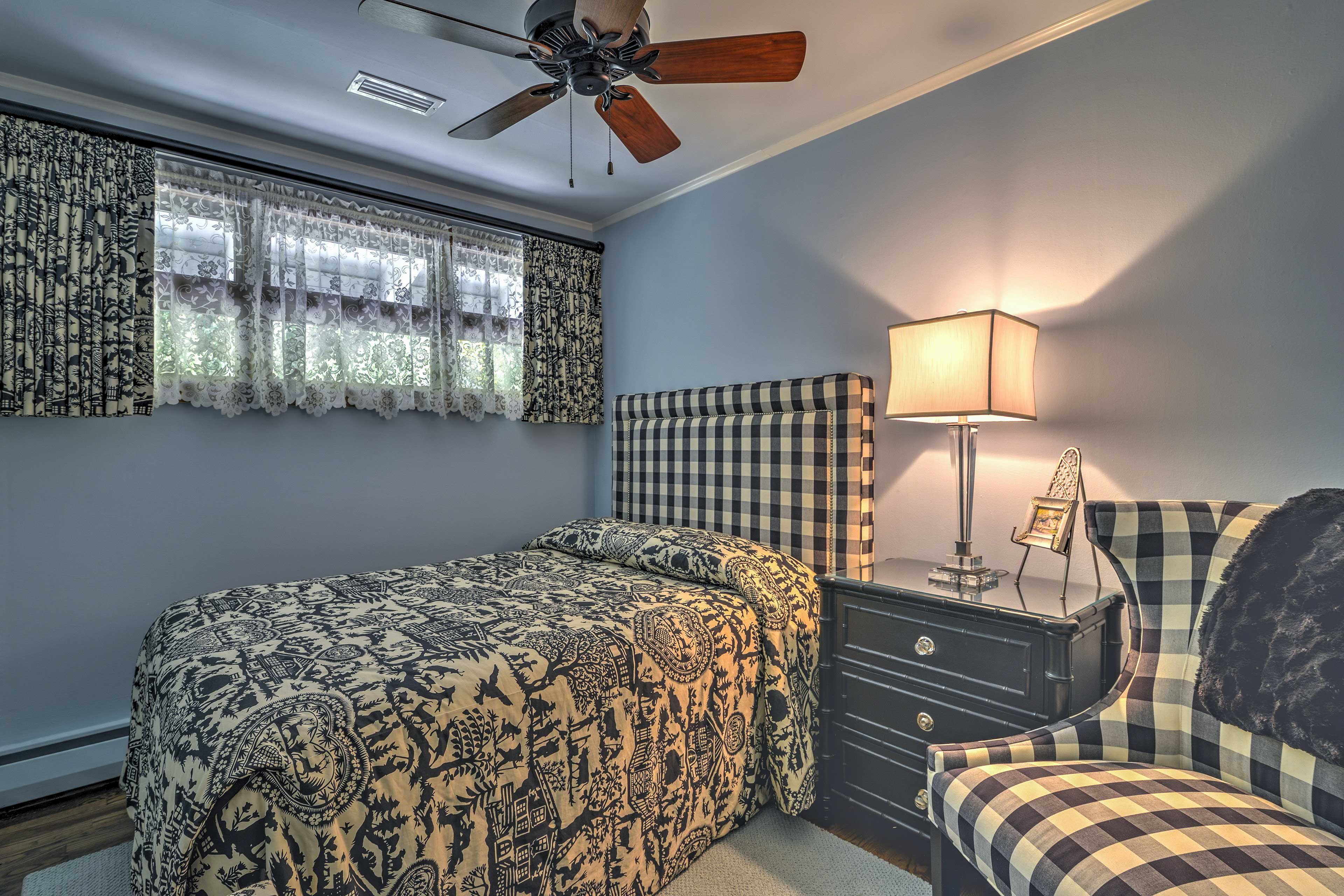 The second bedroom provides a full bed.