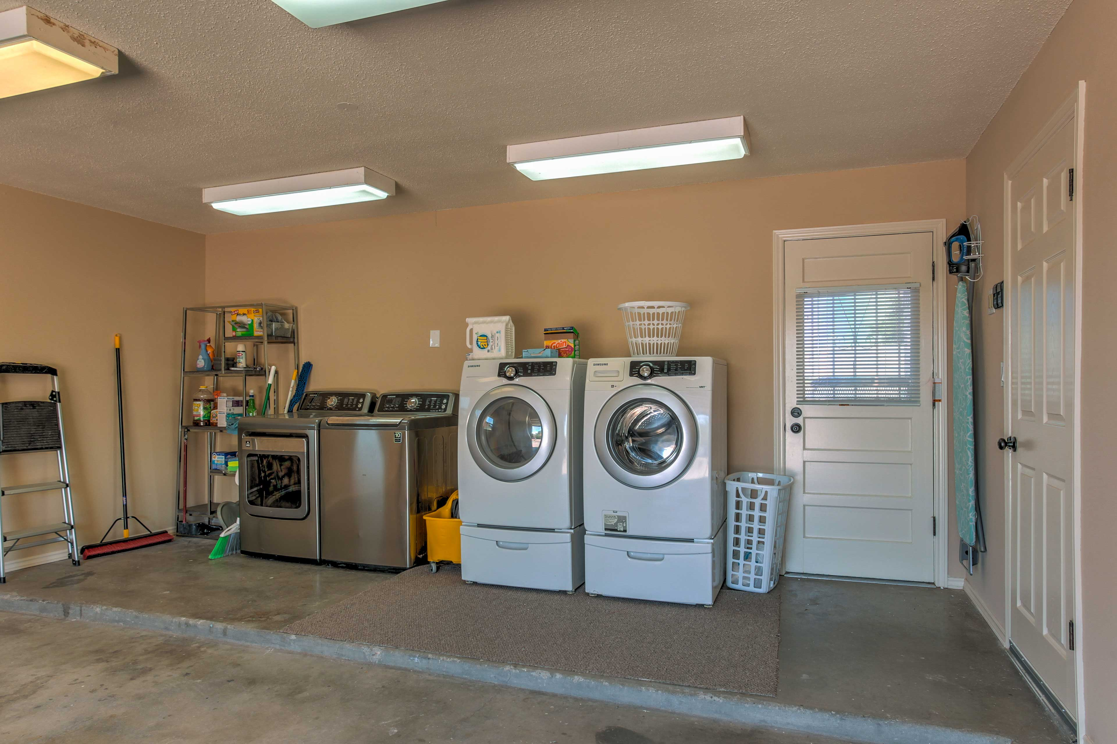 Utilize the laundry machines to keep your clothes clean during your stay.