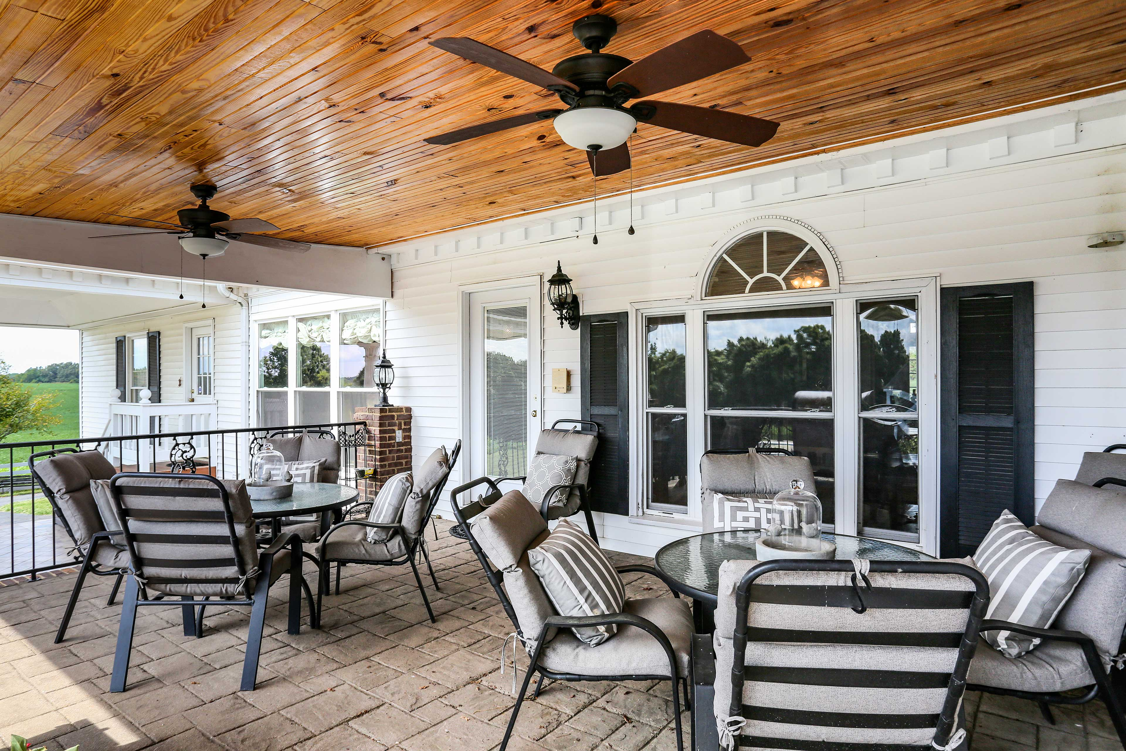 Get some fresh air out on the covered patio!