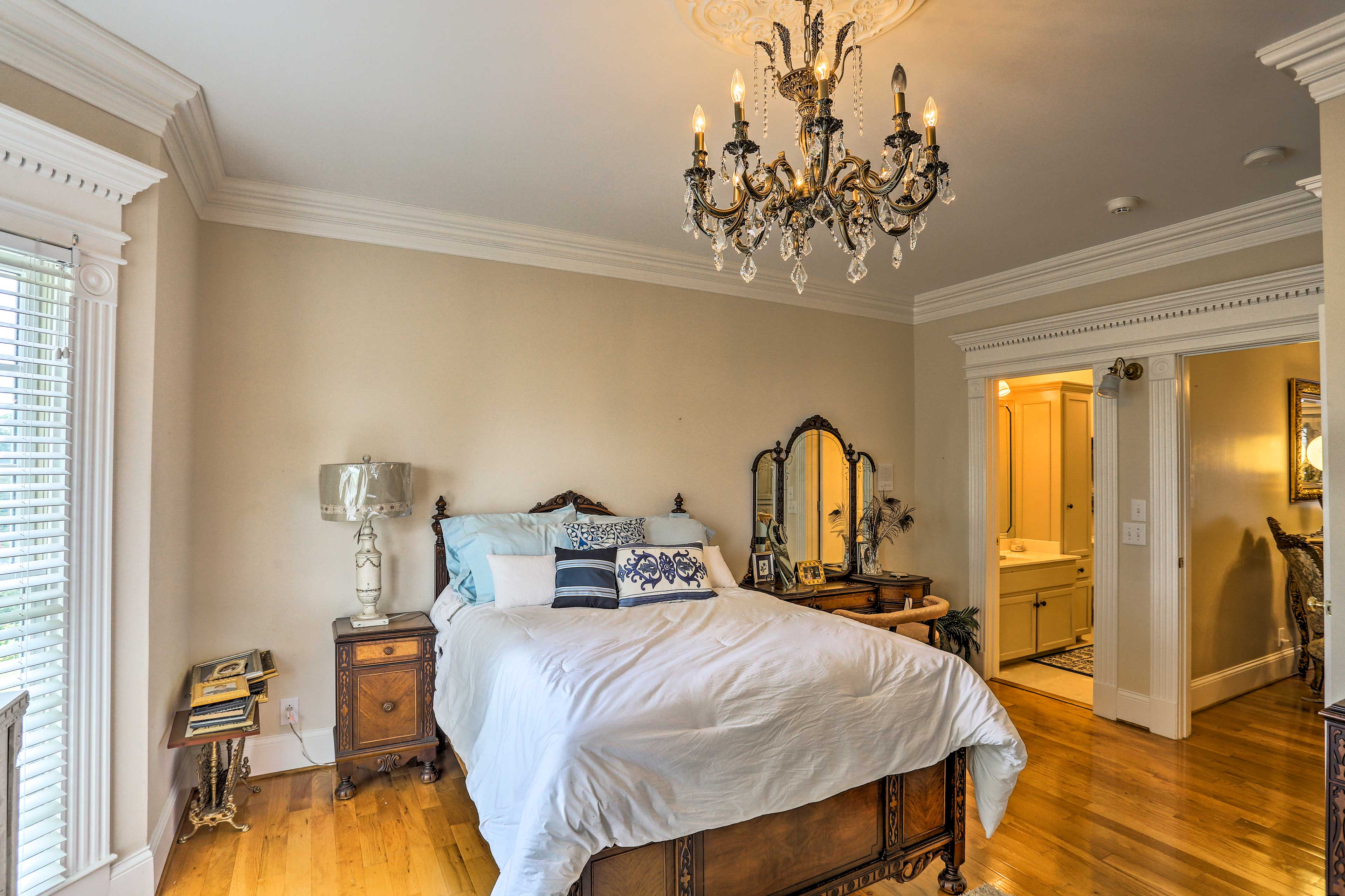 Head into the 'Guest Room,' which has a queen bed.