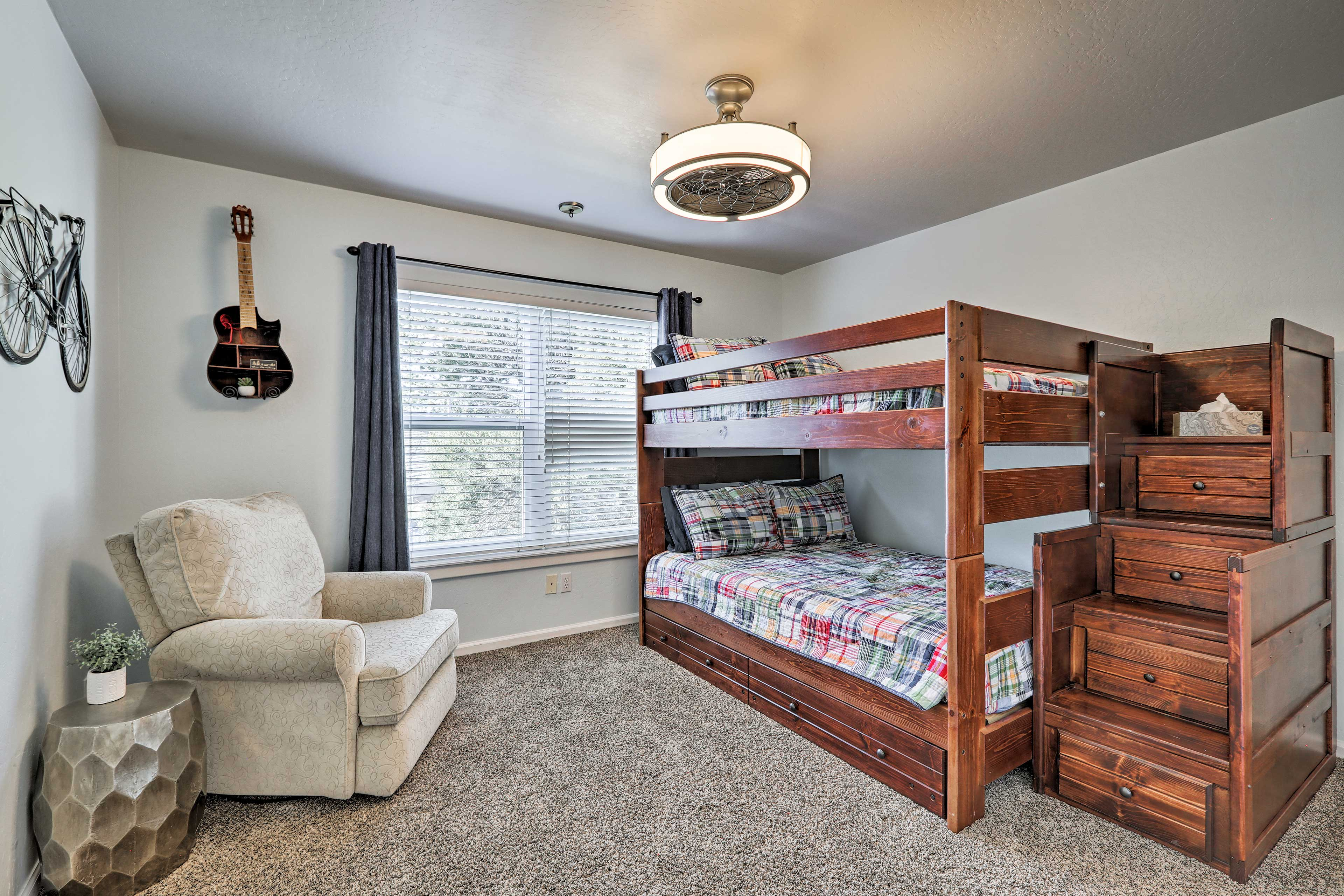 The fourth bedroom is equipped with a twin-over-full bunk bed and twin trundle.