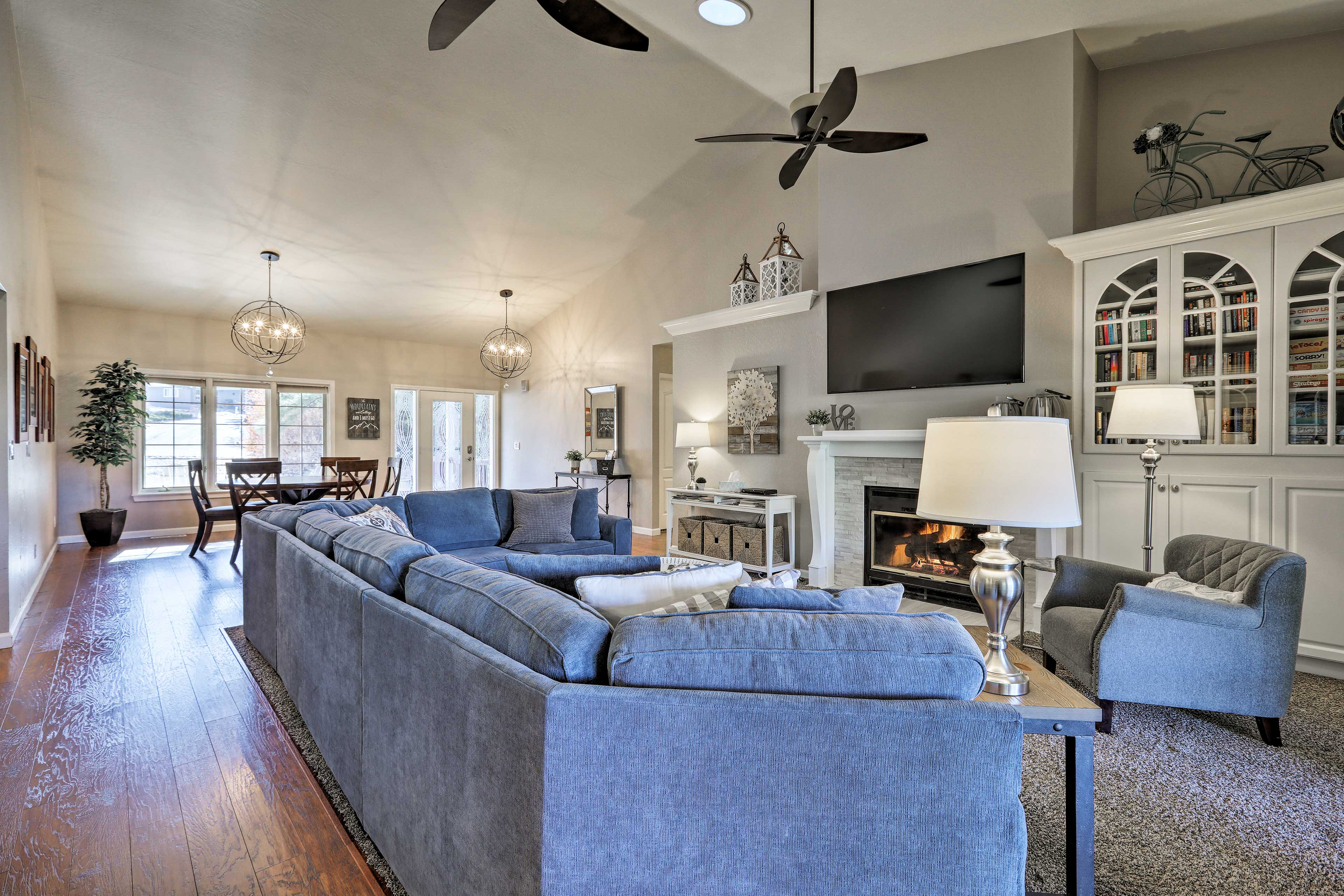 This spacious living area is primed for entertaining and relaxing.