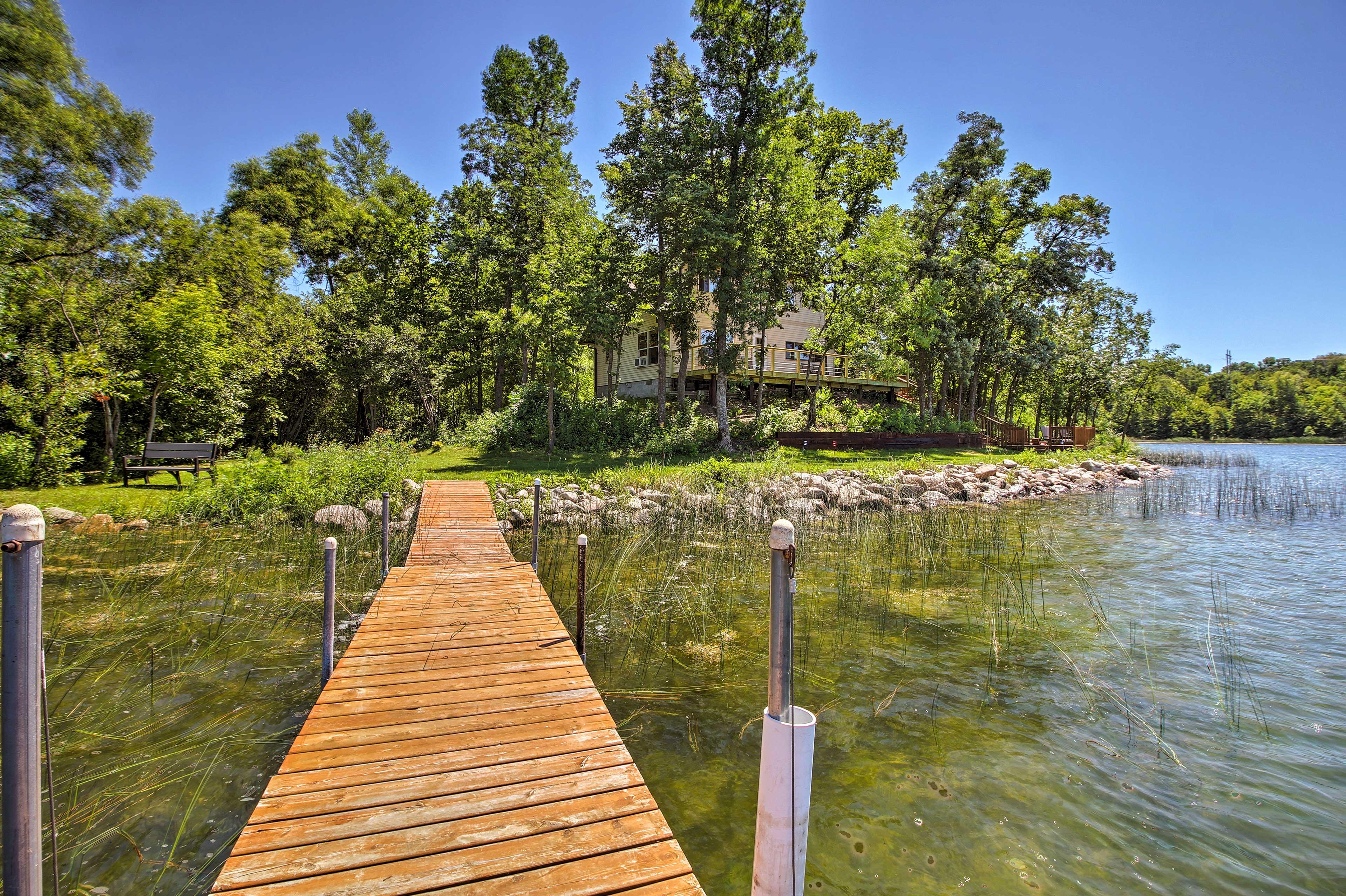 Go fishing or swim off the dock!