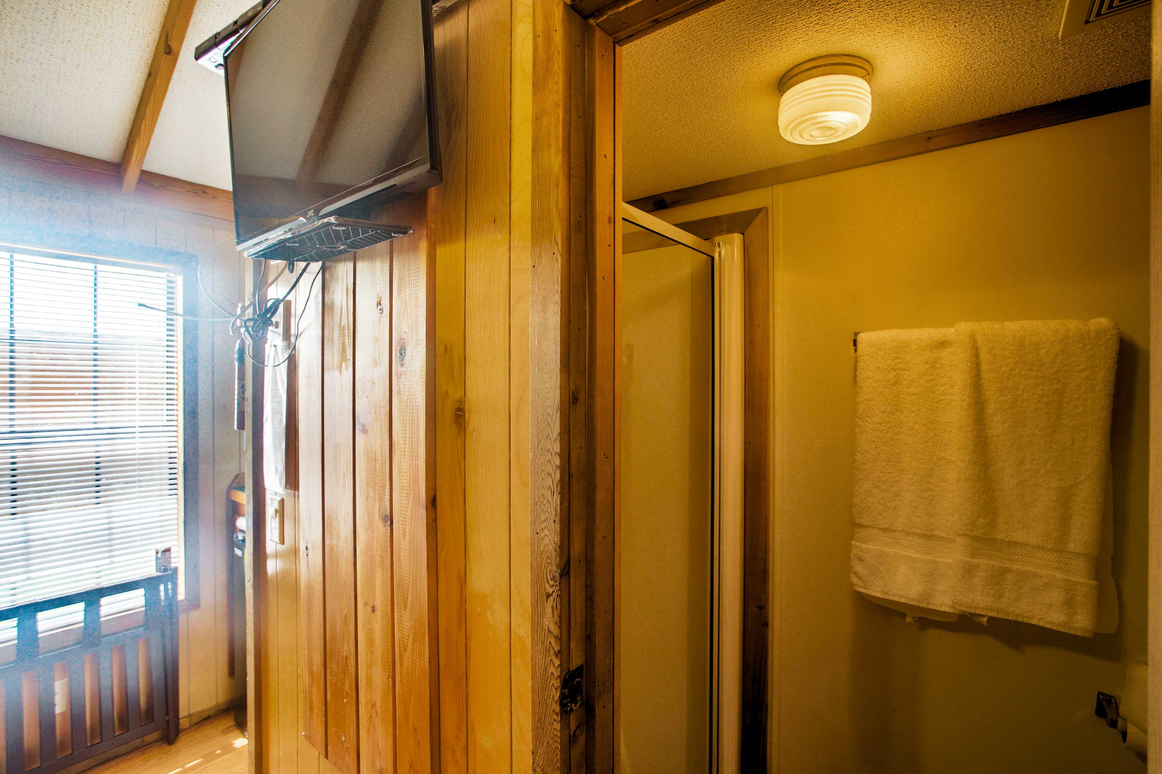 The bathroom offers a walk in shower.