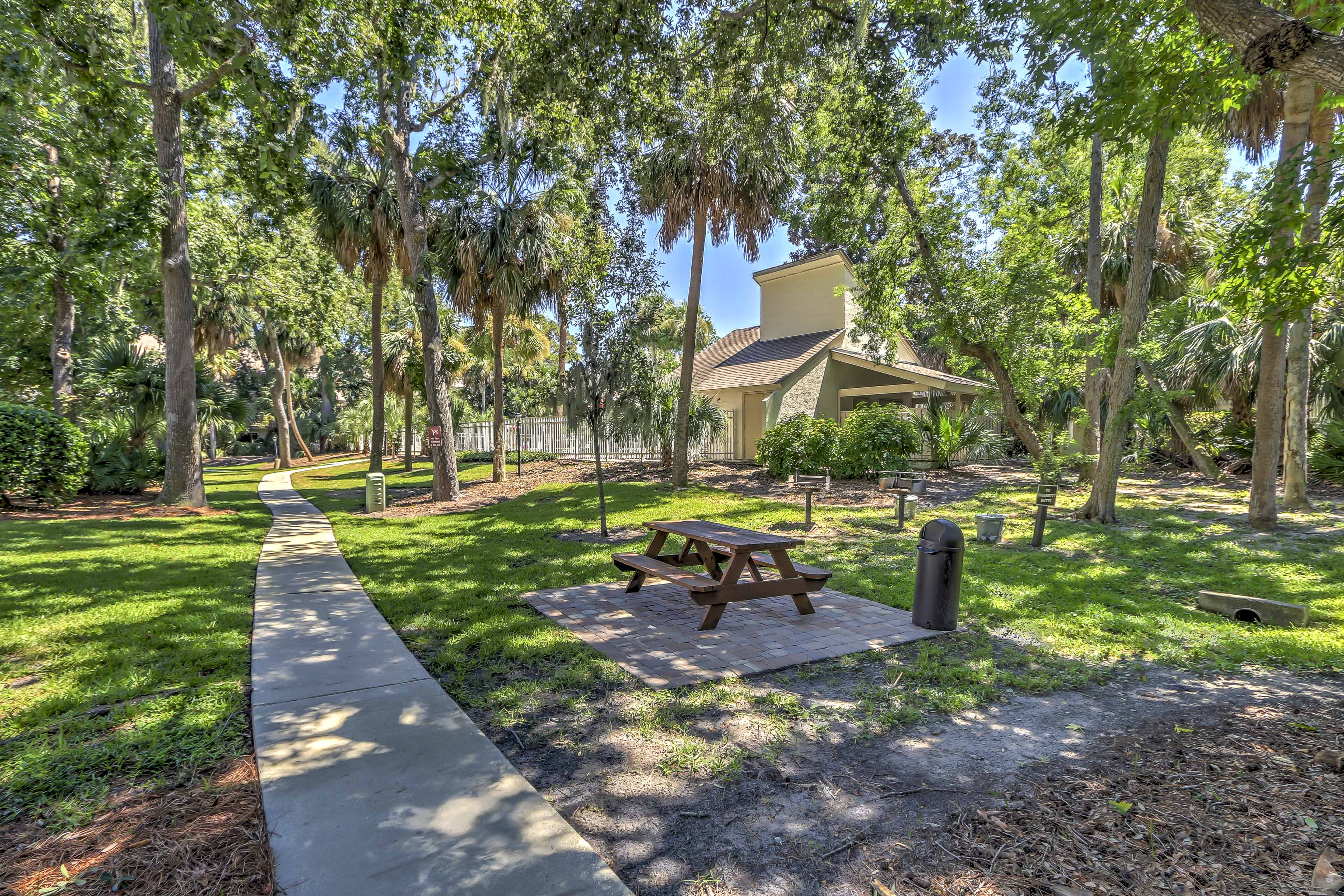 Enjoy a picnic under the canopy of trees right outside the back door.